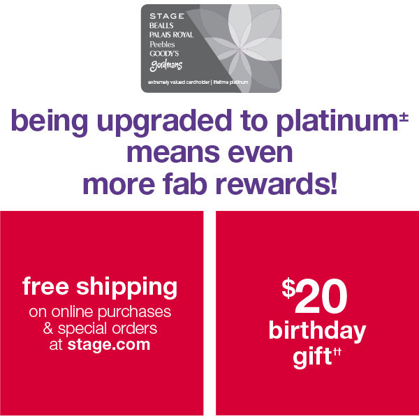 being upgraded to platinum means even more fab rewards!