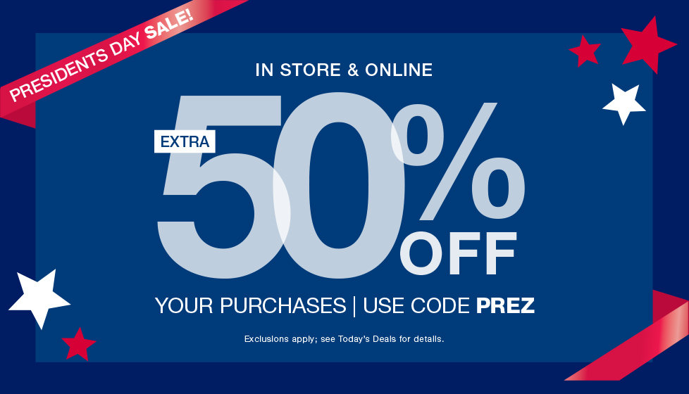President's Day Sale! Extra 50% OFF Your Online Purchases with Code PREZ at Stage.