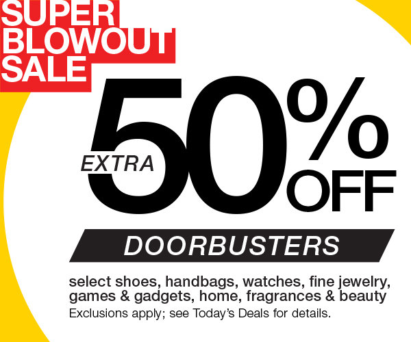 Extra 50% OFF Select Shoes, Handbags, Jewelry, Watches and more. Prices shown on website already reflect Extra 50% Savings.