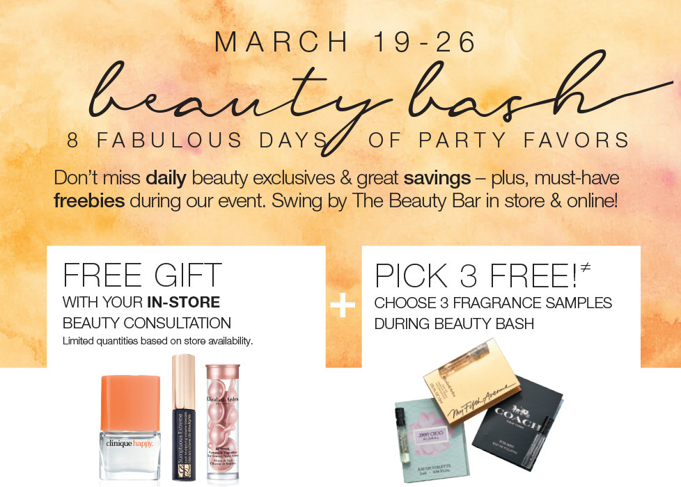 Shop All Beauty Products at Stage Now Through March 26th & Receive 3 FREE Fragrance Samples. Shop In Store & Receive a FREE Gift With Your In-Store Consultation.