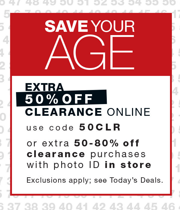 2af1c9e872b Save Your Age Extra 50off Clearance
