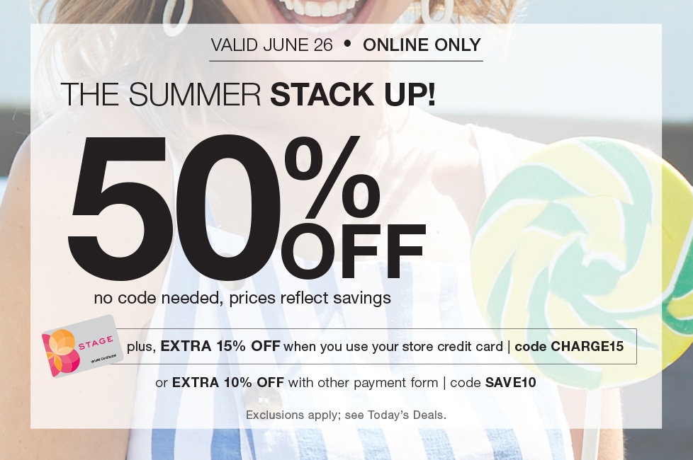 Flash Sale! 50% OFF plus EXTRA 15% OFF with store credit cared and online code CHARGE15