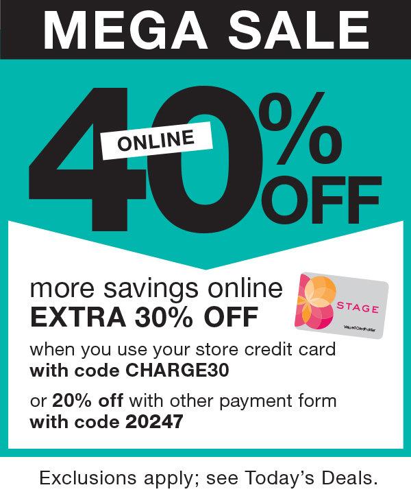 Mega Sale! 40% OFF Online at Stage