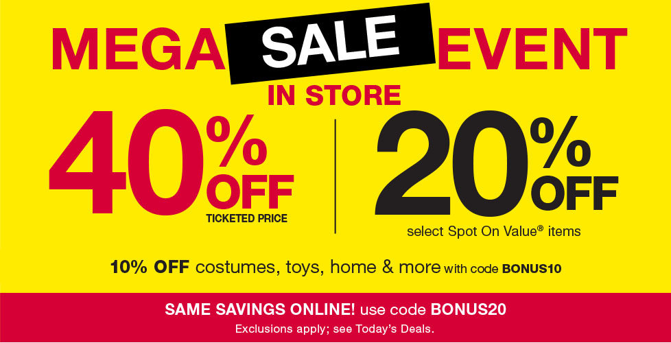 Mega Sale Event! 40% OFF In Store & Online