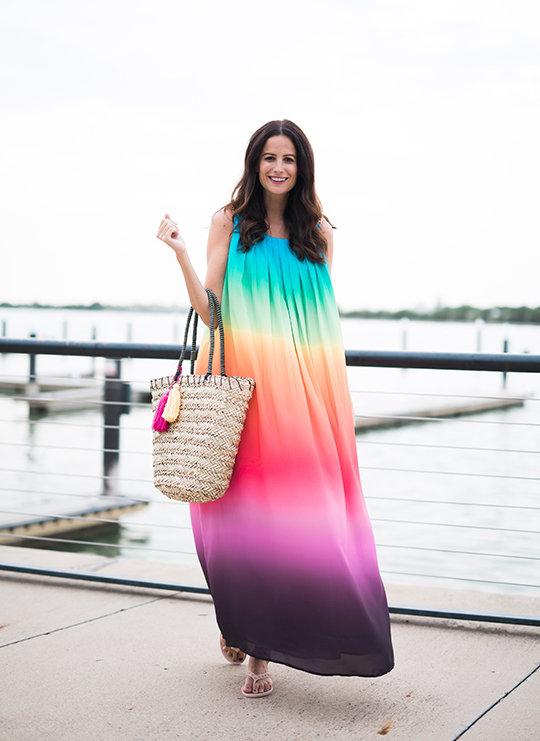 Amanda Miller wearing Rafaella Ombre Rainbow Sundress