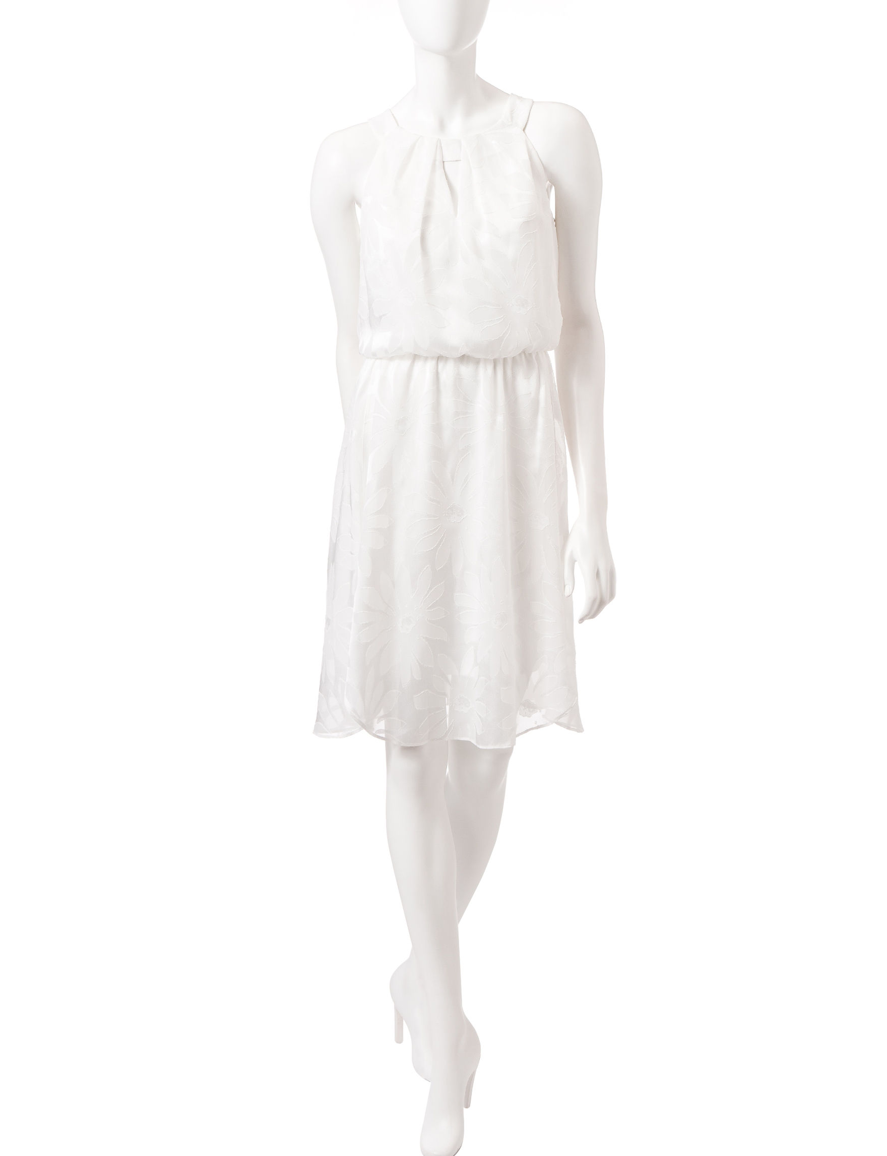 London Times White Shift Dresses