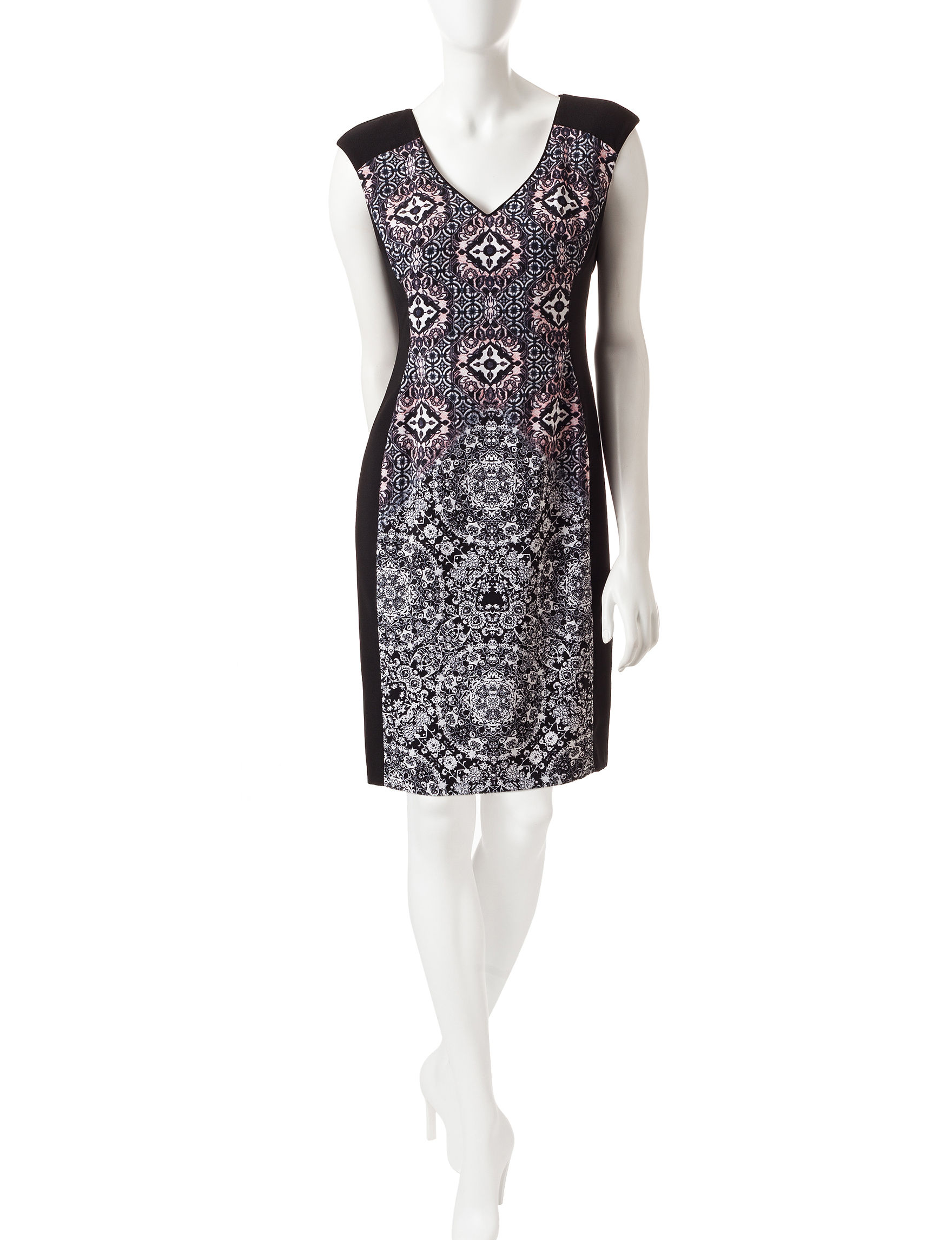 London Times Black / Pink Sheath Dresses