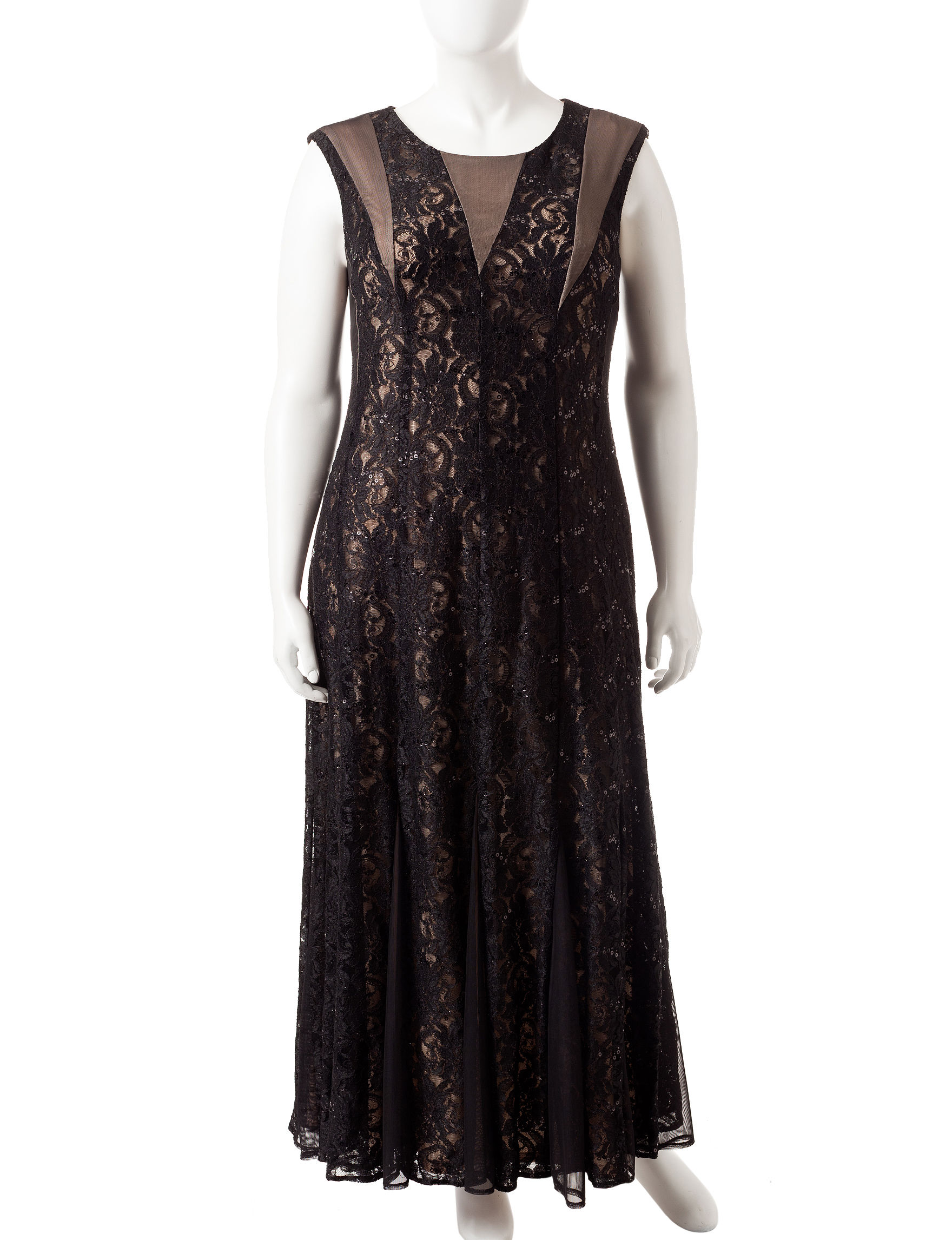 R & M Richards Black A-line Dresses