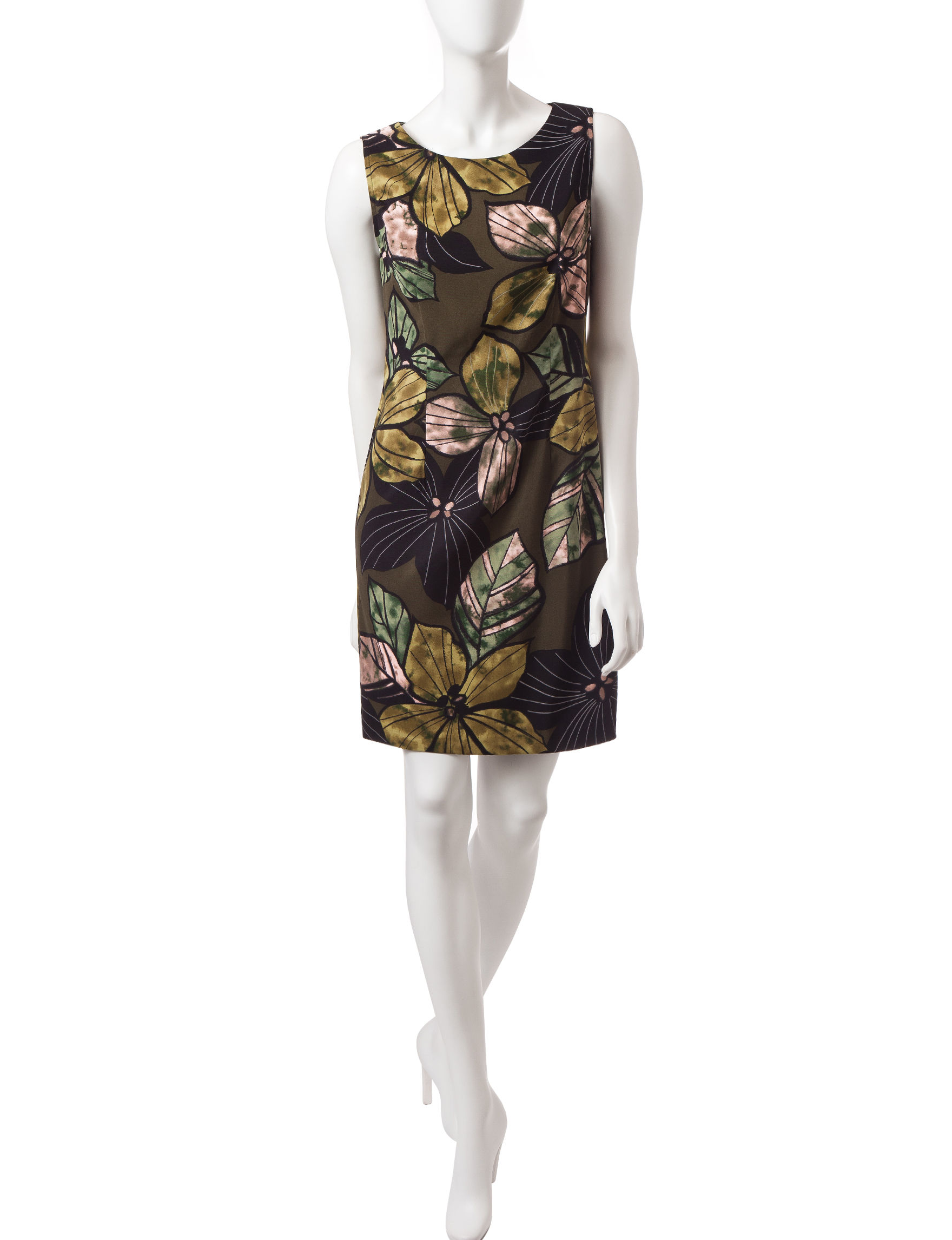 Connected Olive Sheath Dresses