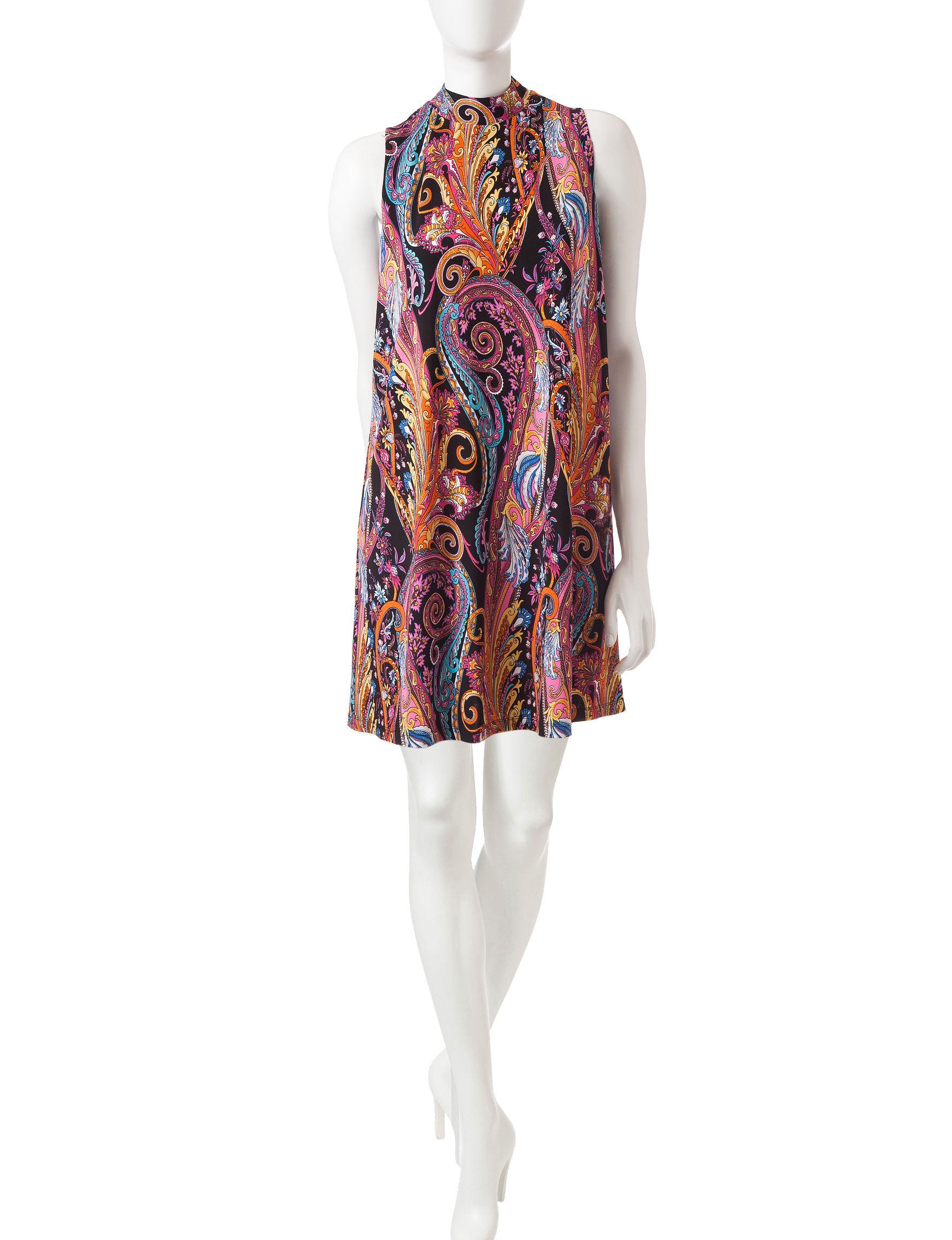 Ronni Nicole Blue Floral A-line Dresses