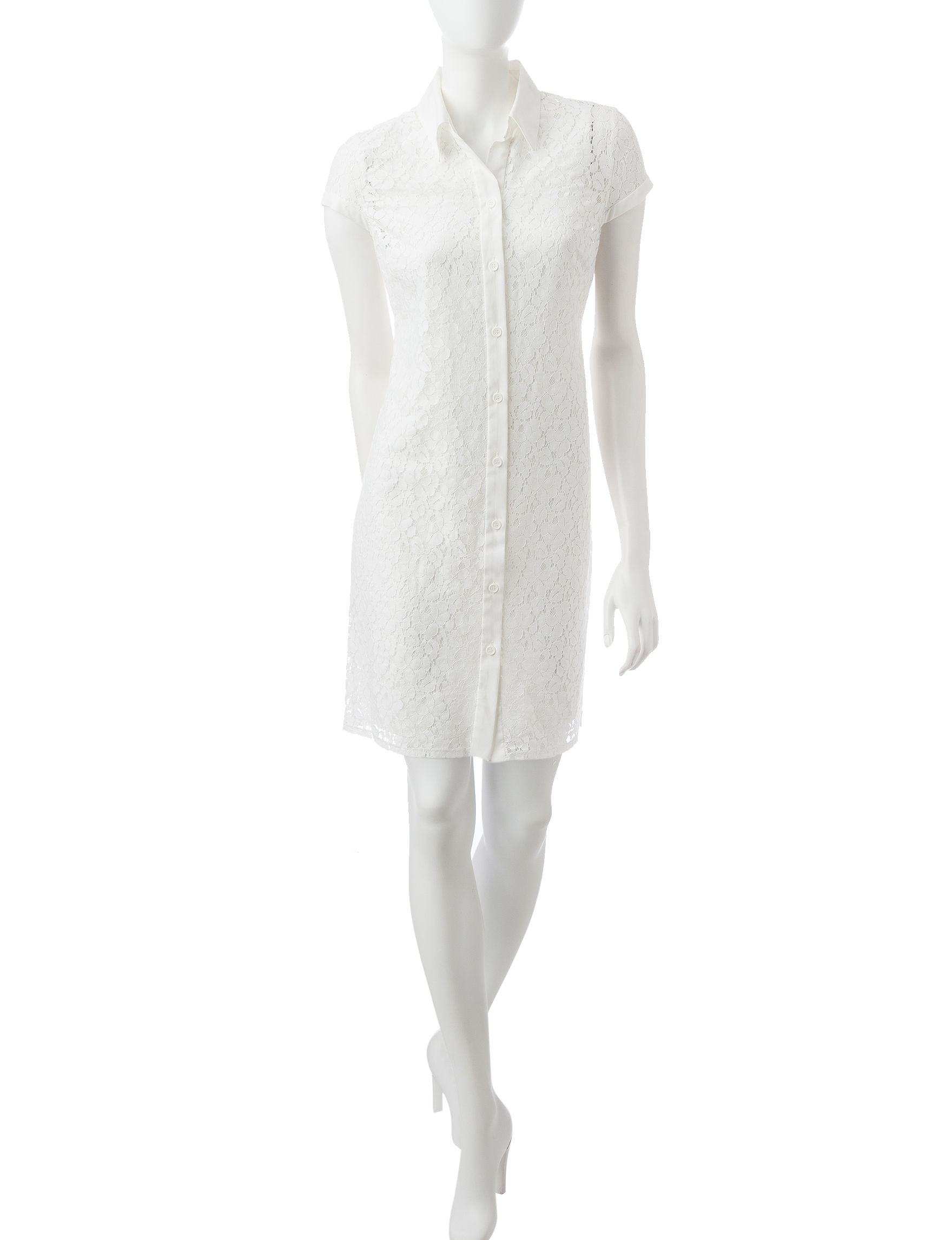 Sandra Darren Ivory Shirt Dresses