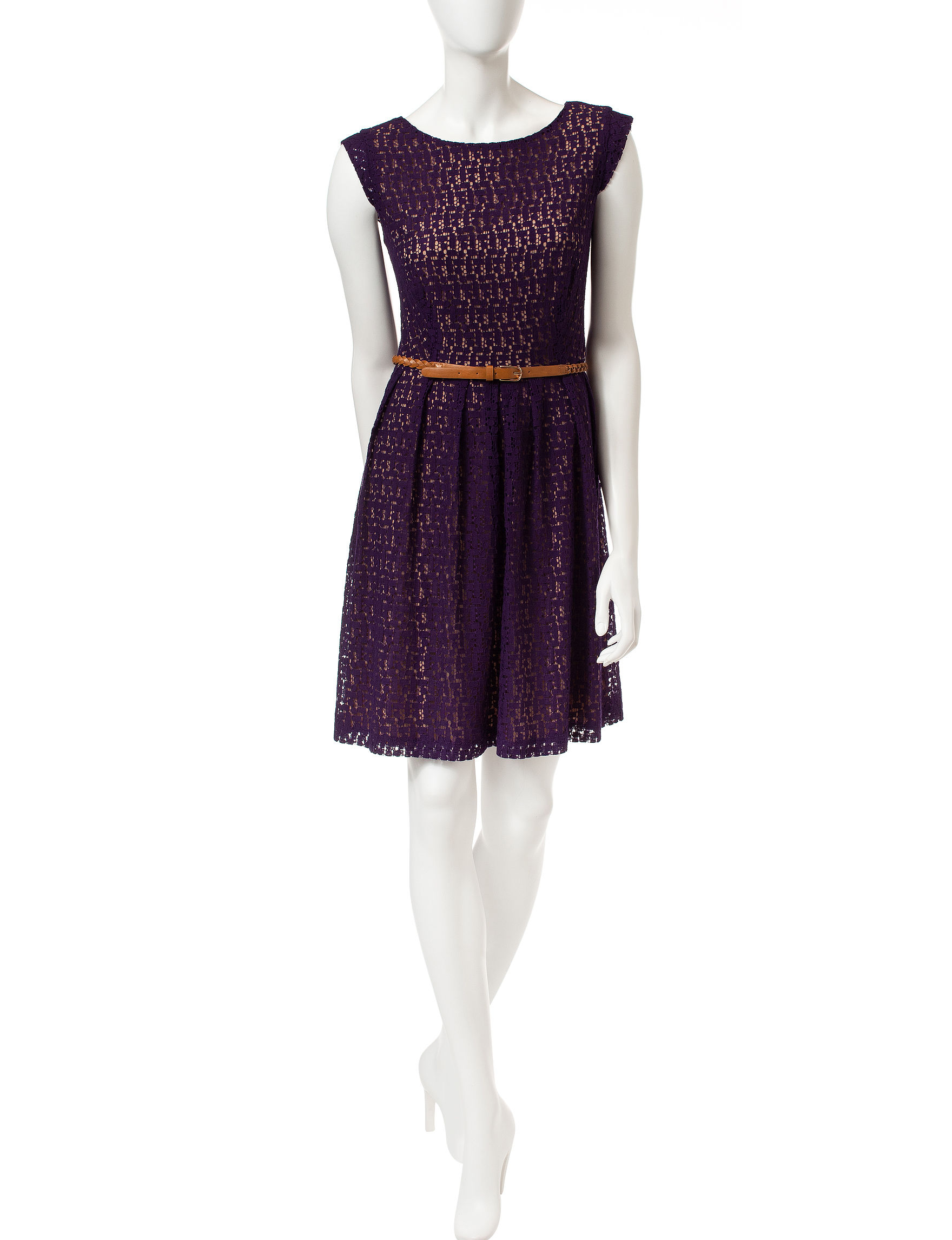 Connected Dark Purple A-line Dresses