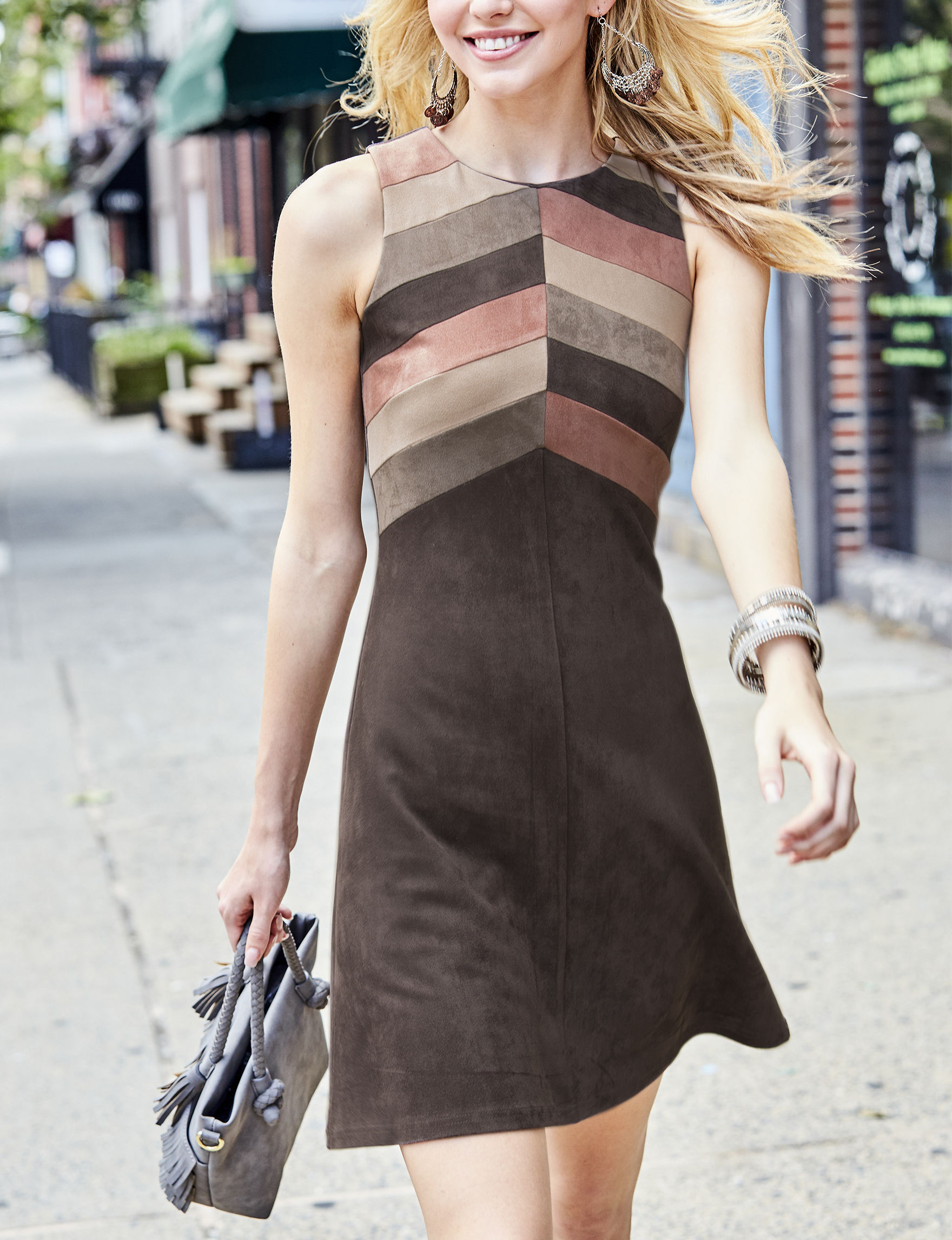 Spense Brown A-line Dresses