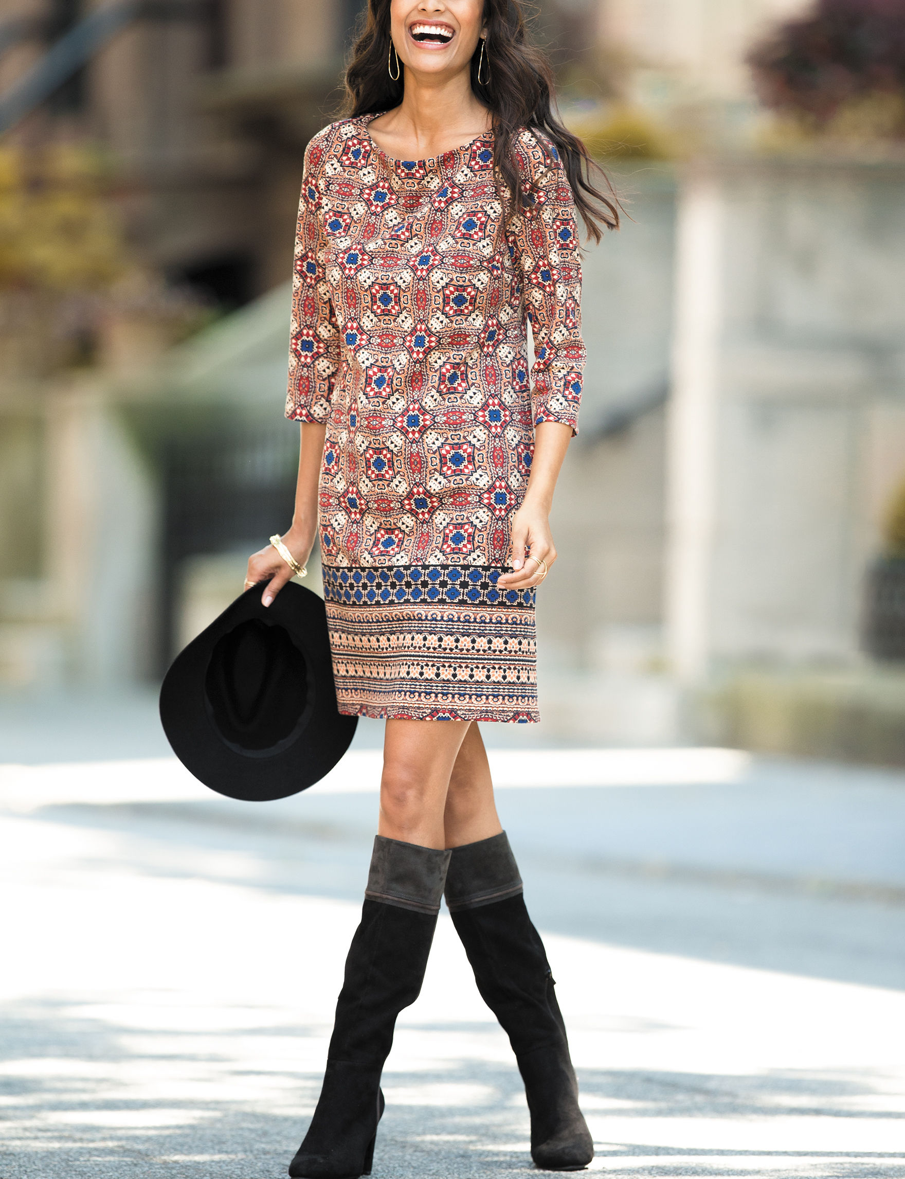 London Times Tan Everyday & Casual Shift Dresses