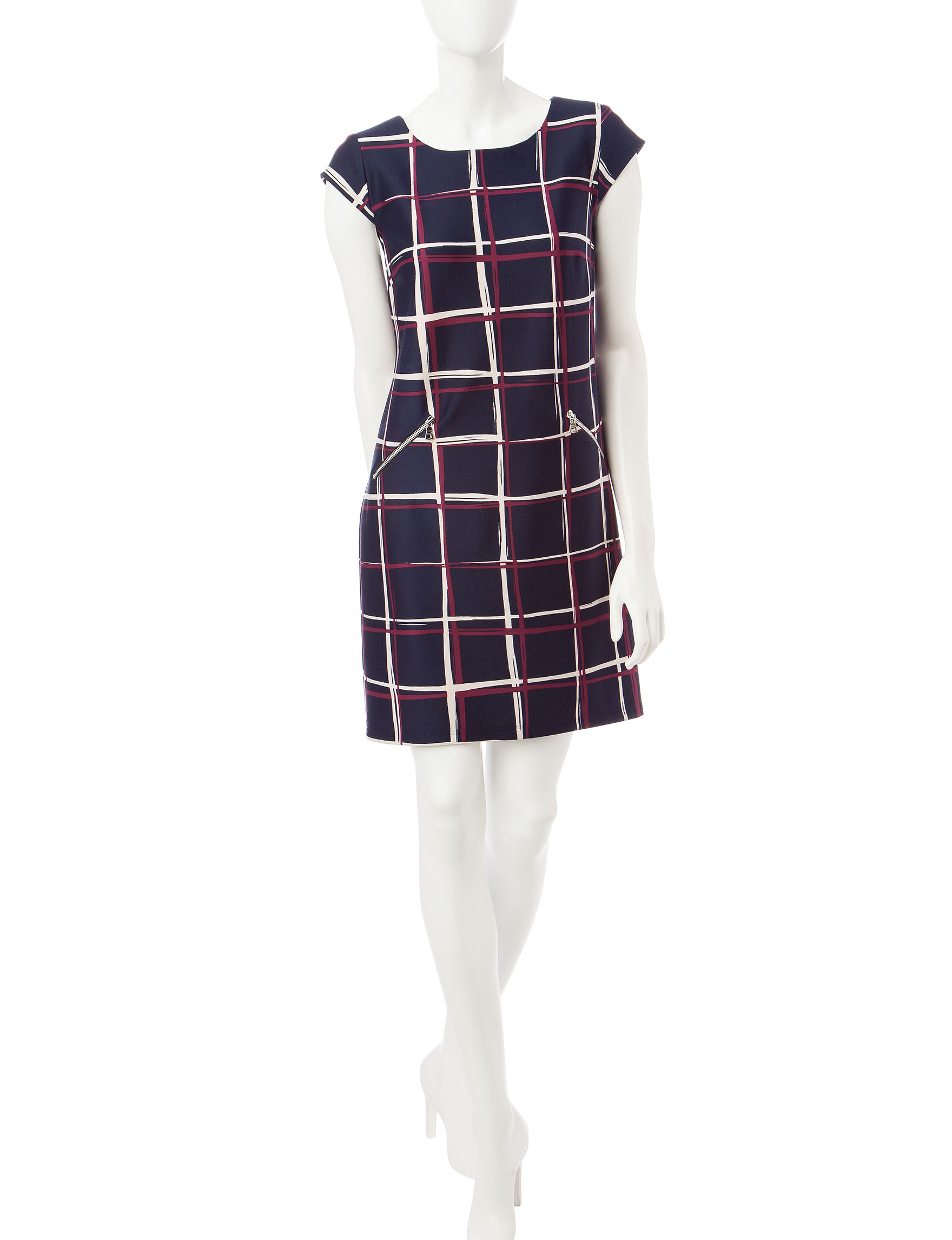 Madison Leigh Navy / Red Everyday & Casual Scuba Dresses Shift Dresses