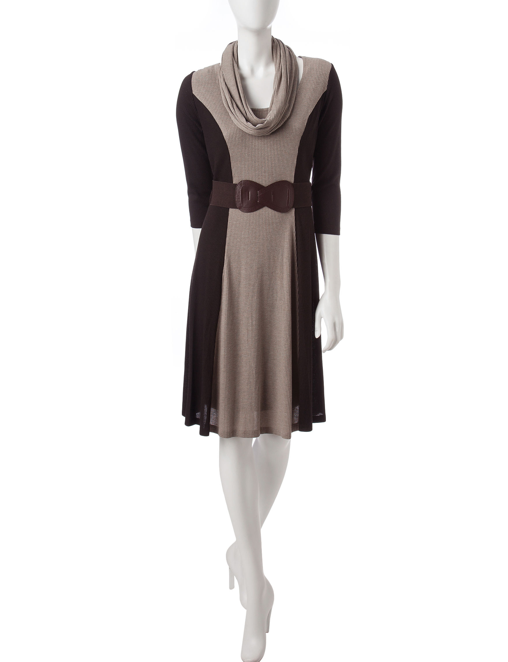 Robbie Bee Brown Everyday & Casual Sweater Dresses