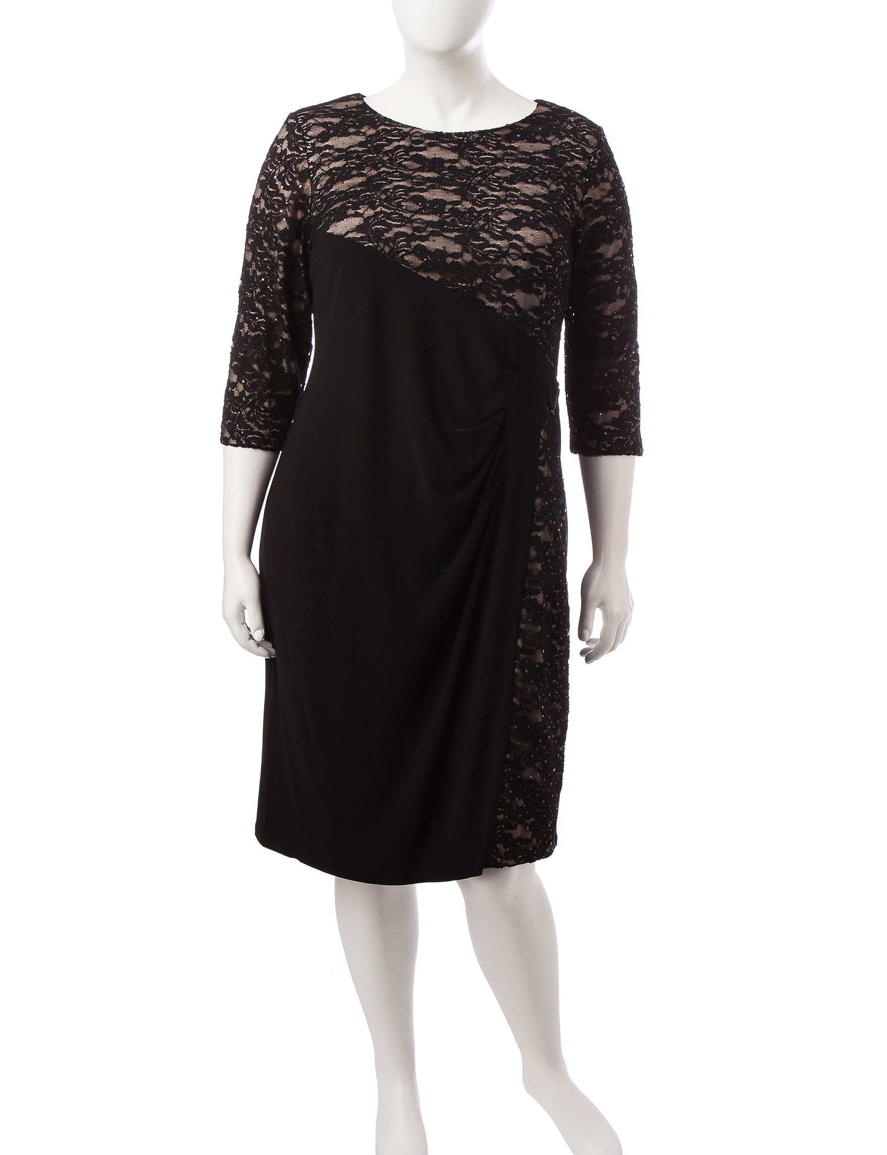 R & M Richards Black / Taupe Cocktail & Party A-line Dresses