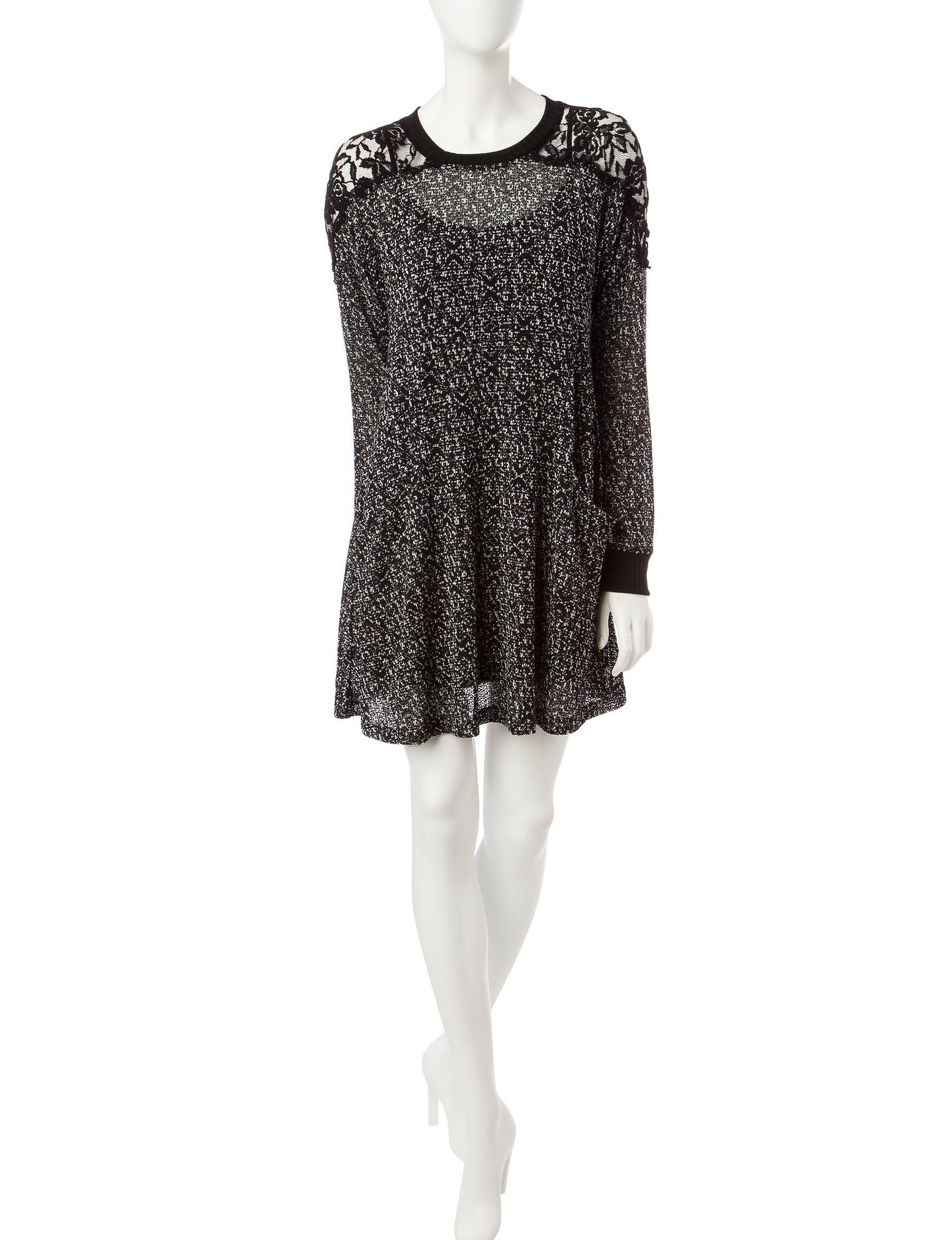Trixxi Black / White Everyday & Casual Sweater Dresses