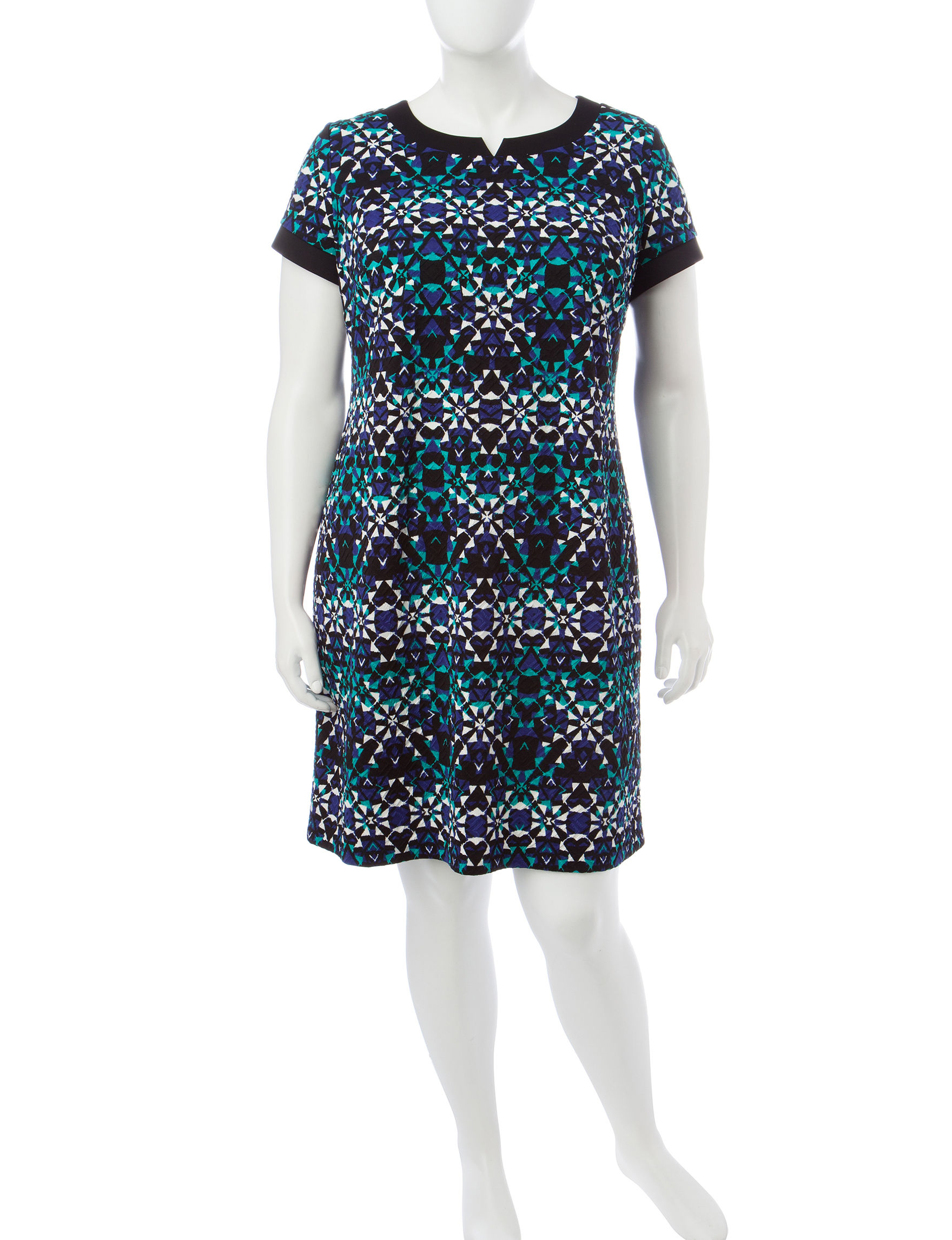 London Times Turqouise Everyday & Casual Shift Dresses