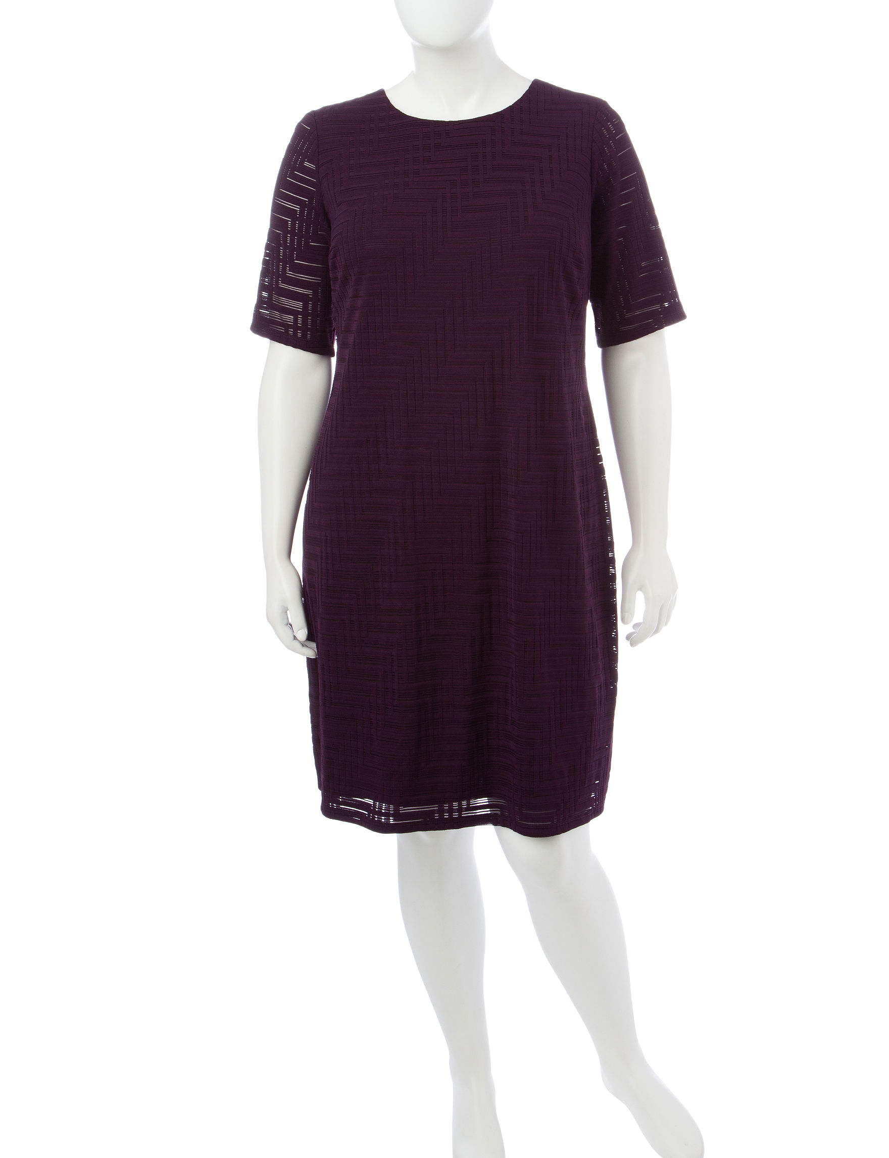 London Times Plum Everyday & Casual Shift Dresses