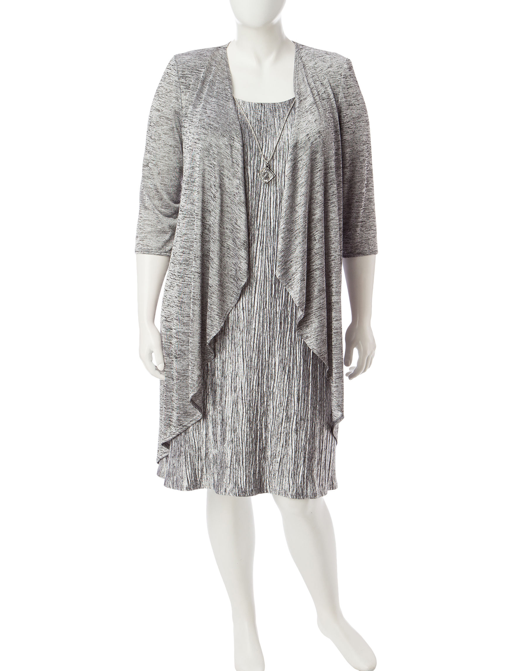 R & M Richards Black / Silver Everyday & Casual Jacket Dresses