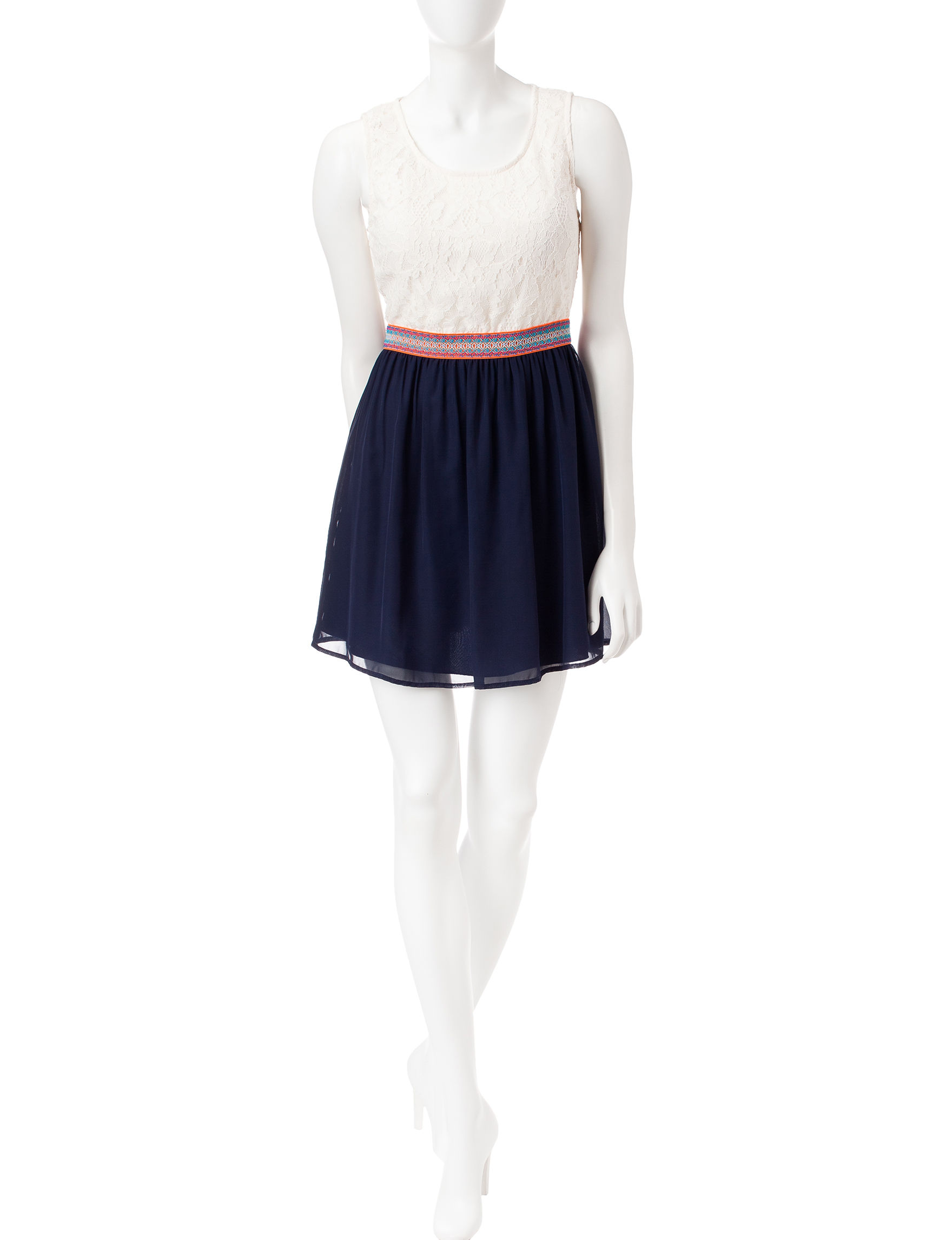 Speechless Navy / Ivory Everyday & Casual Shift Dresses