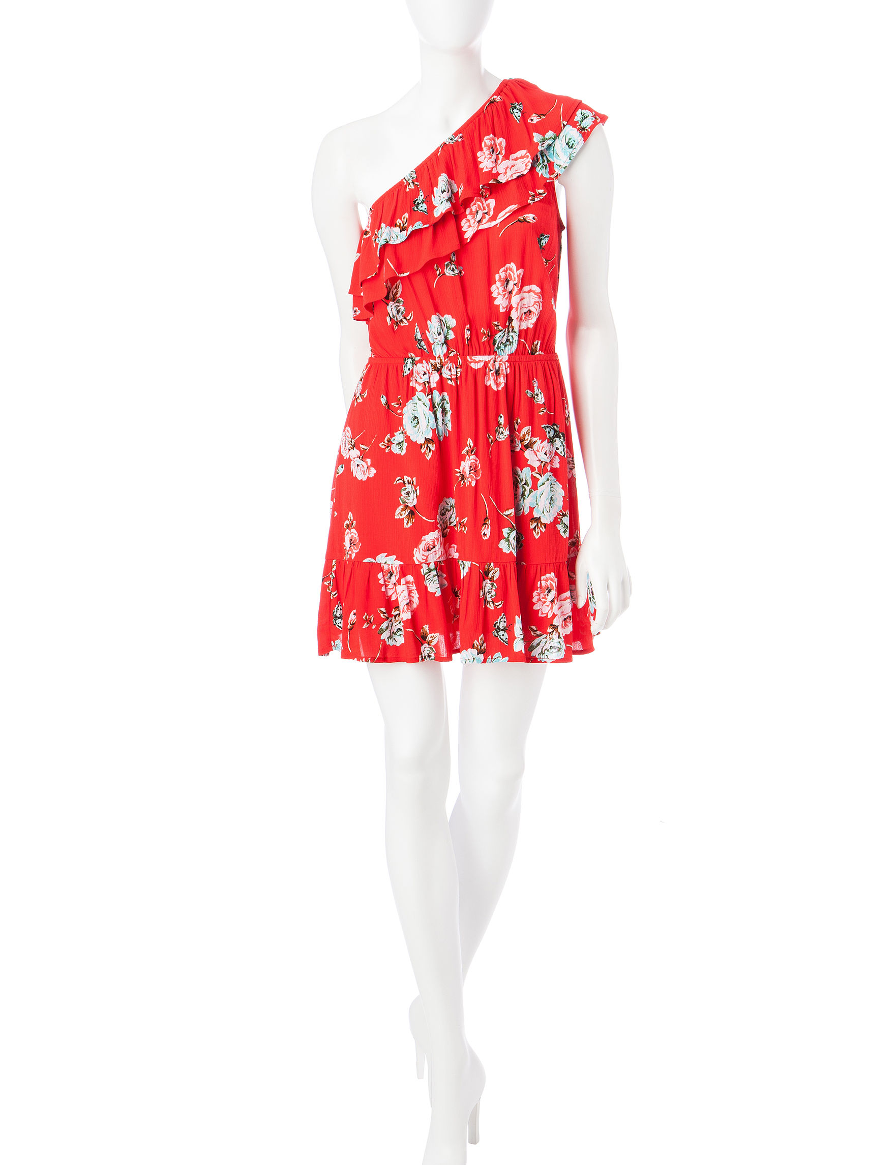 Love Fire Red Floral Everyday & Casual Shift Dresses Sundresses