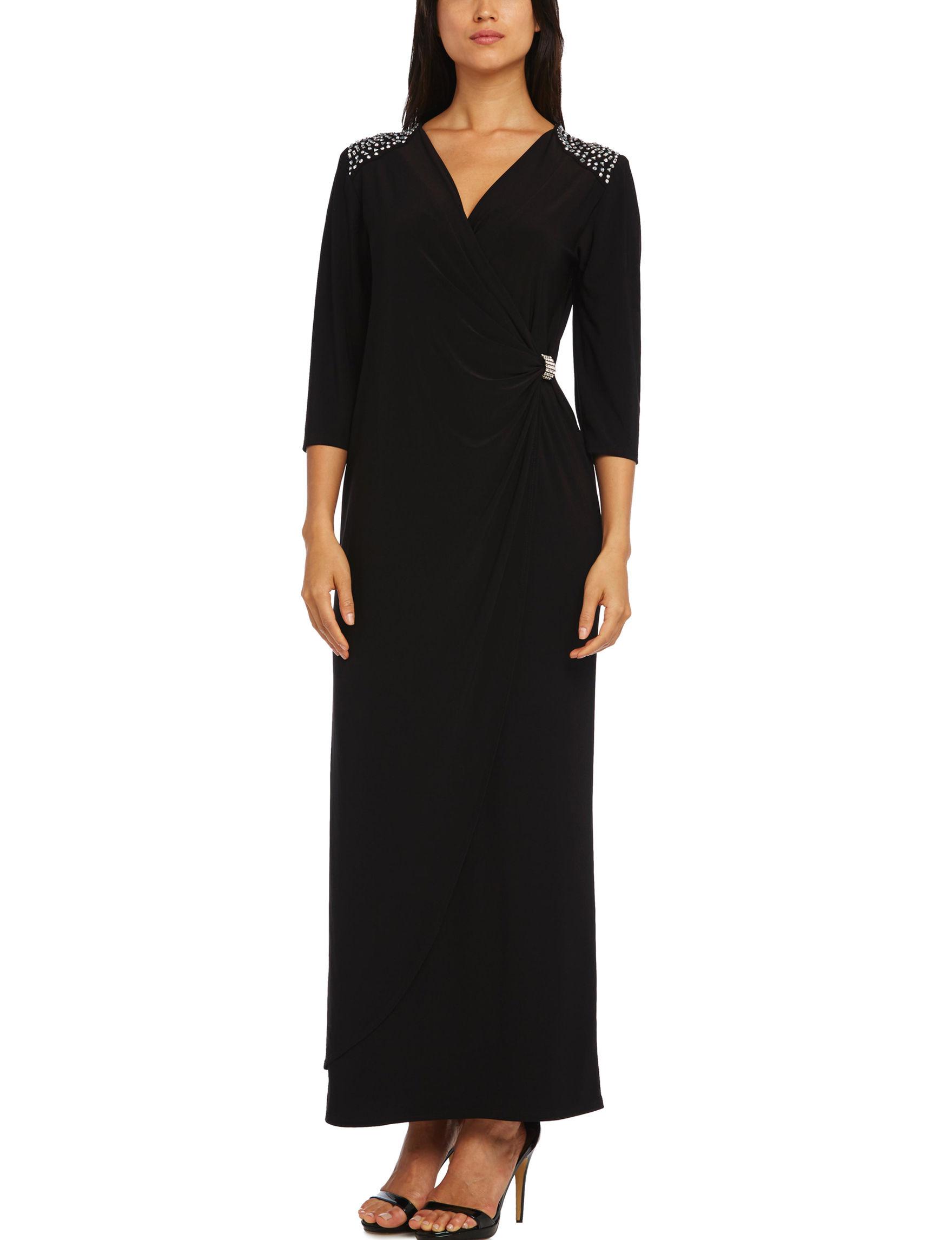 R & M Richards Black Cocktail & Party A-line Dresses