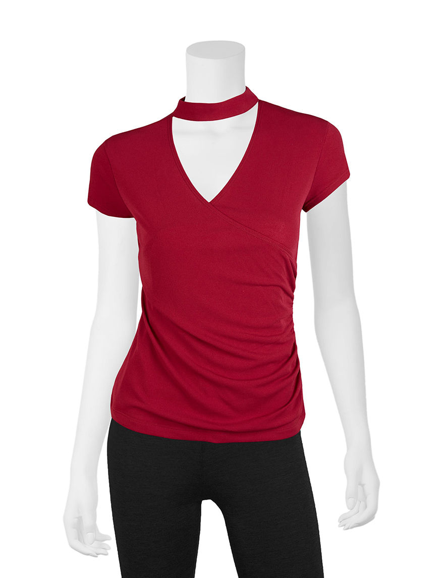 A. Byer Dark Red Shirts & Blouses