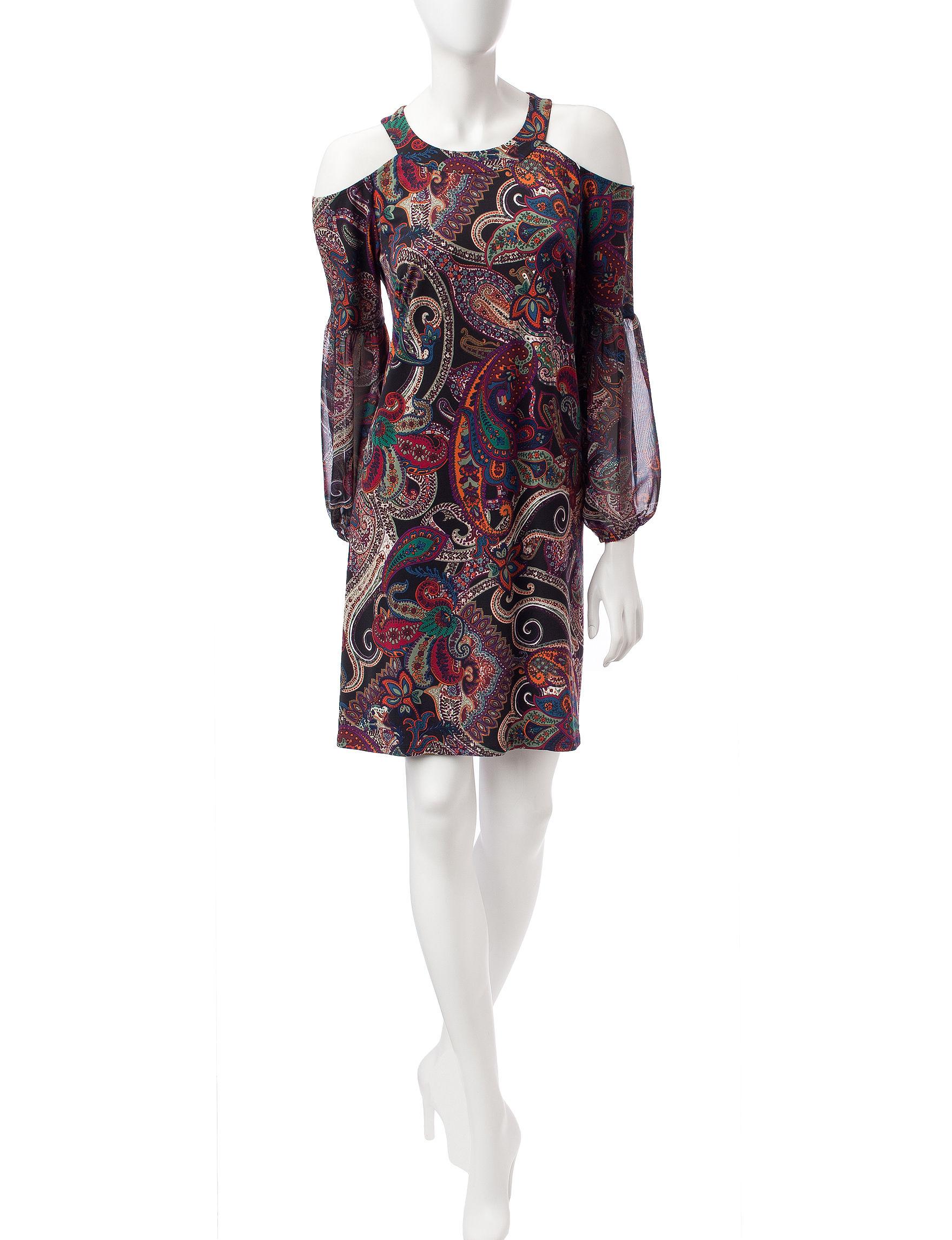 MSK Black / Multi Everyday & Casual A-line Dresses