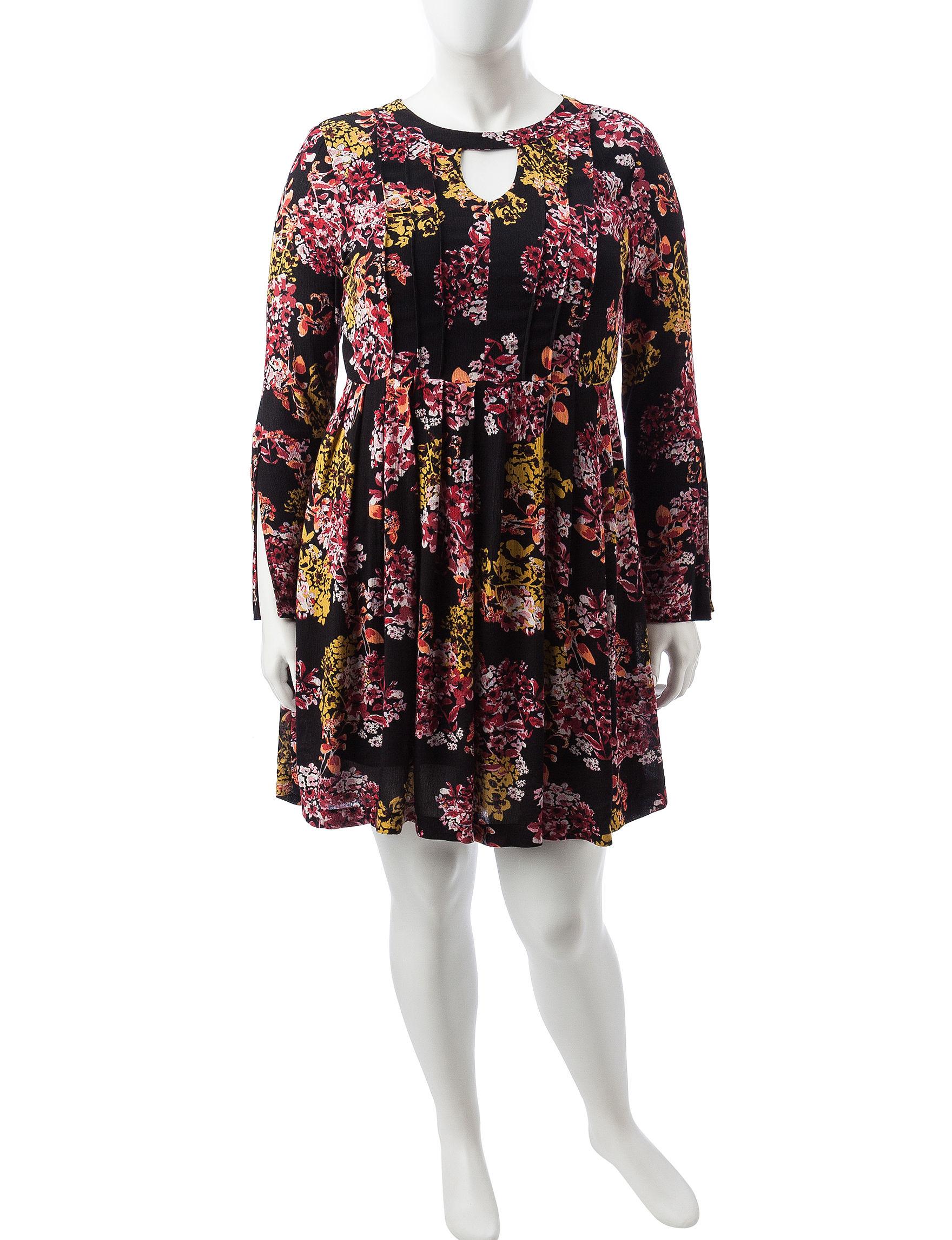 Lennie Black Floral Everyday & Casual Shift Dresses