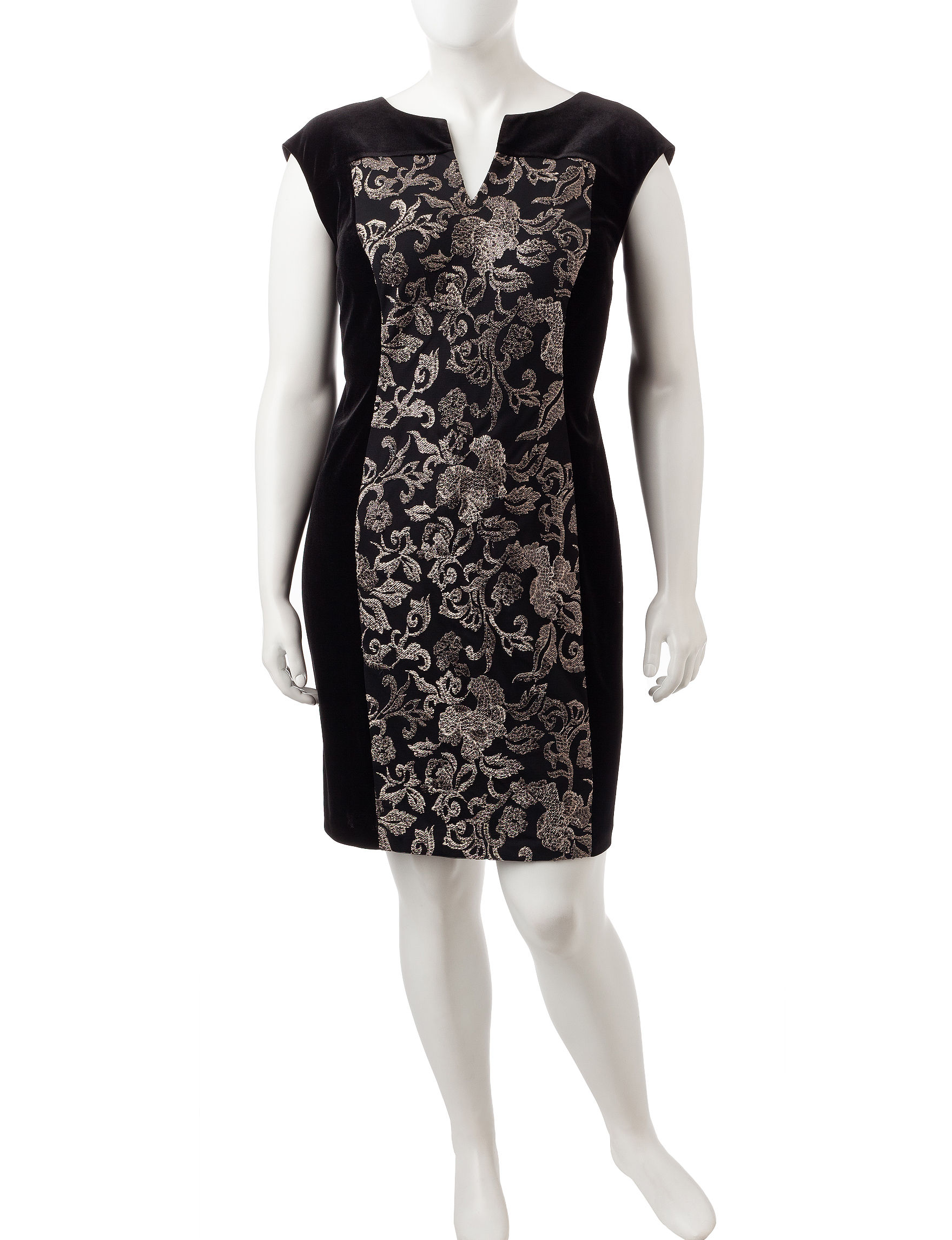 Connected Black / Gold Cocktail & Party Evening & Formal Sheath Dresses