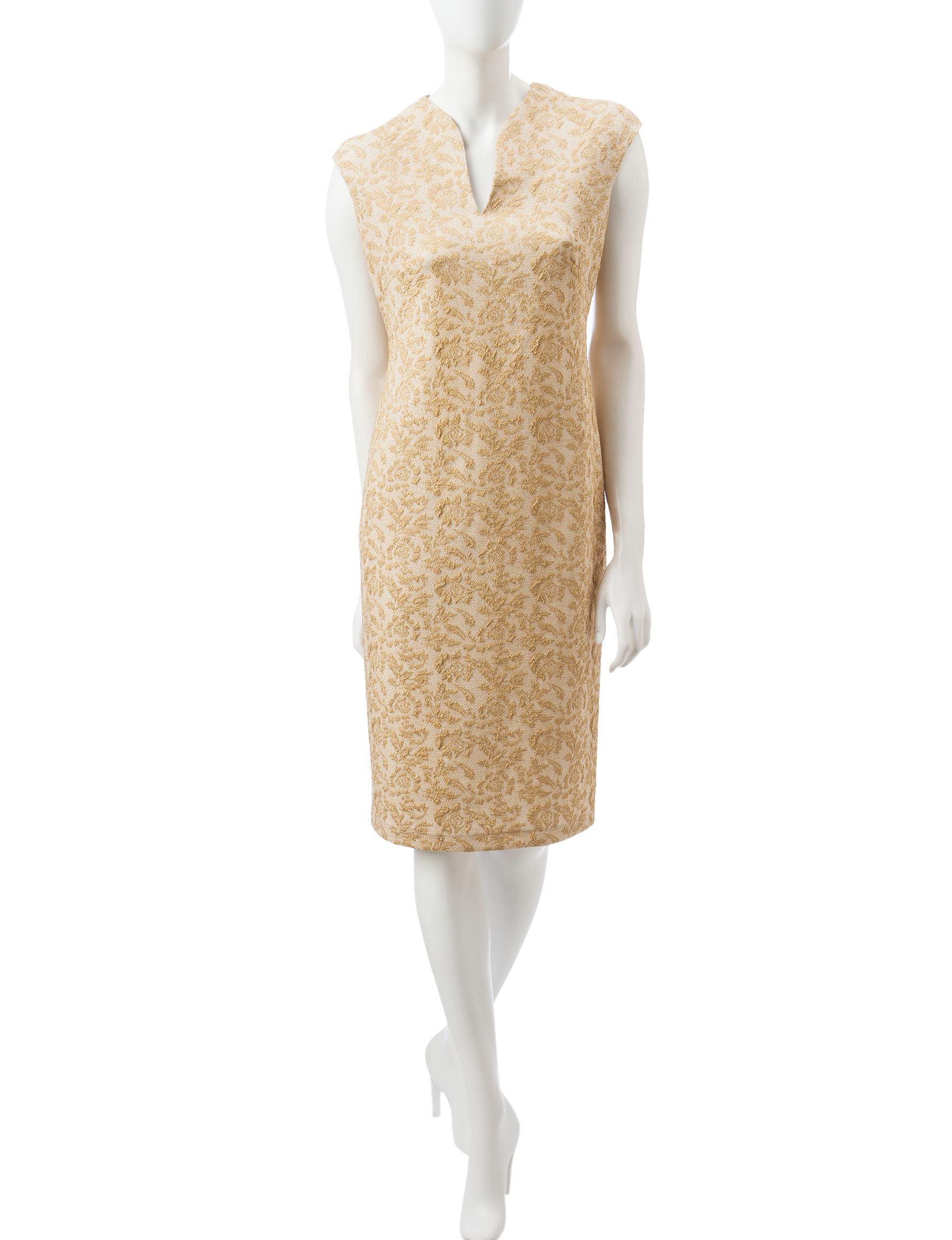 Connected Champagne Everyday & Casual Sheath Dresses