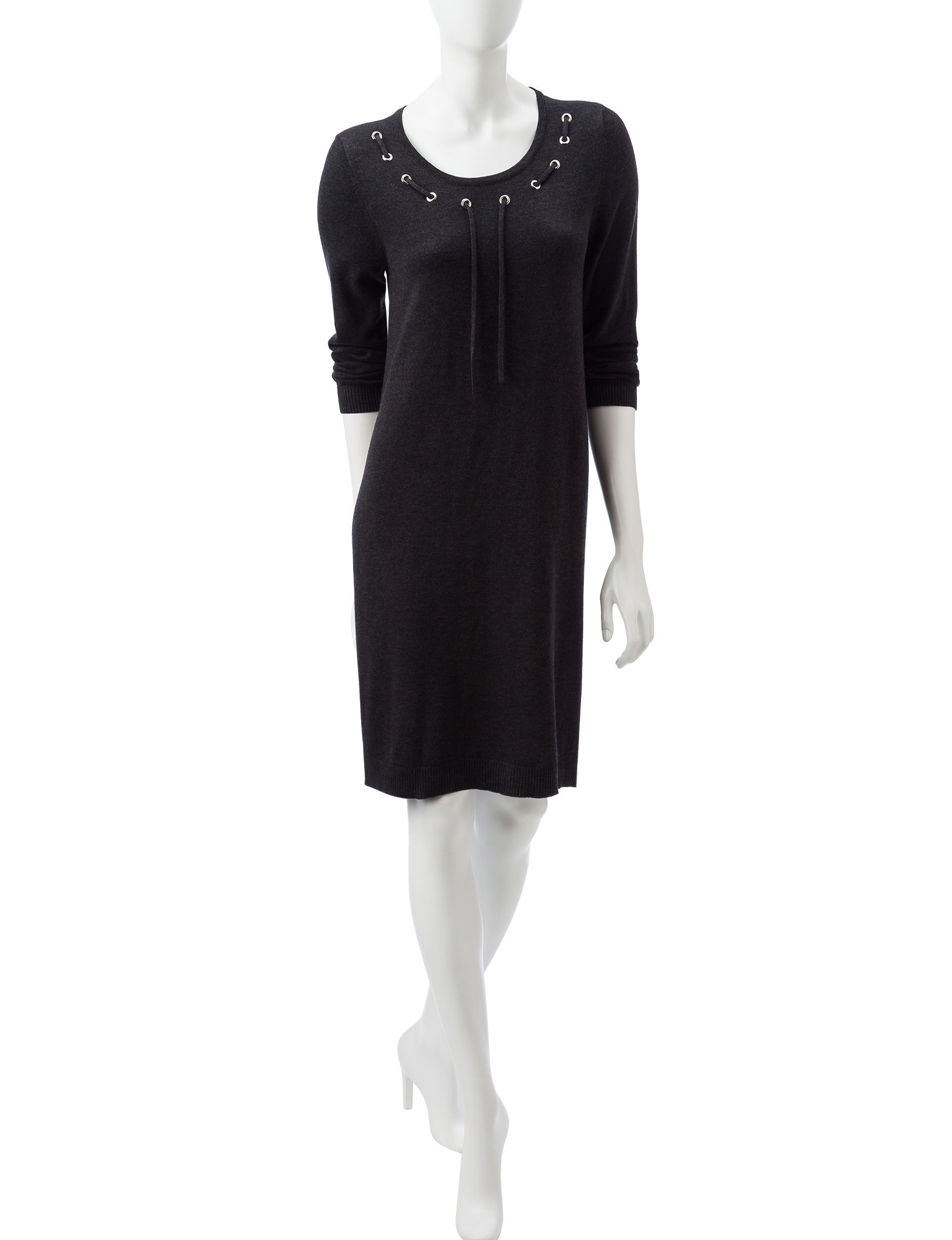 Nine West Dark Grey Everyday & Casual A-line Dresses Fit & Flare Dresses Sweater Dresses