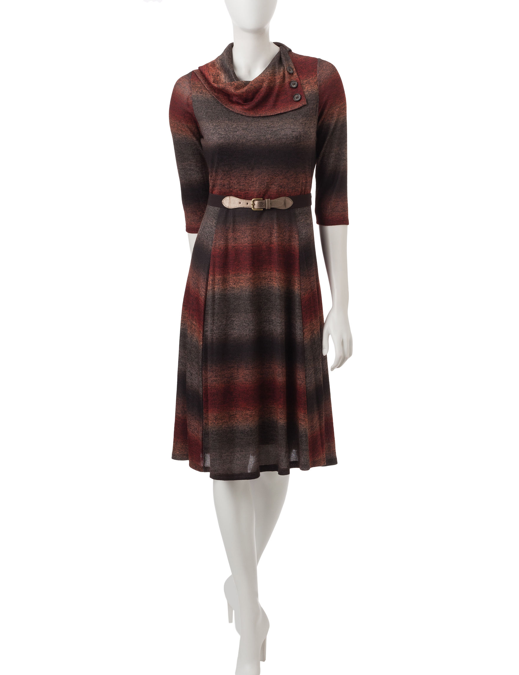 Robbie Bee Rust Everyday & Casual Sweater Dresses