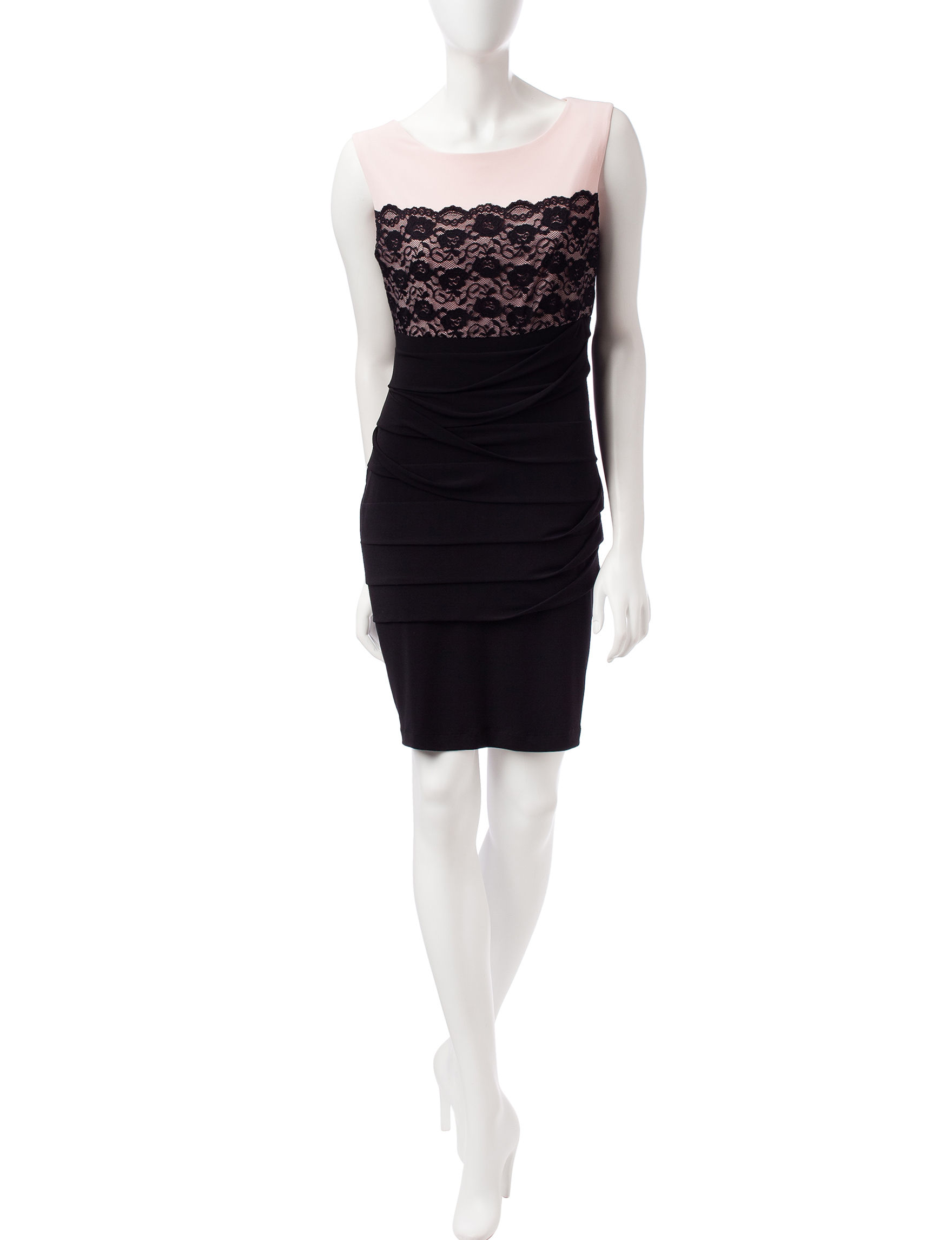 Connected Pink / Black Cocktail & Party Sheath Dresses