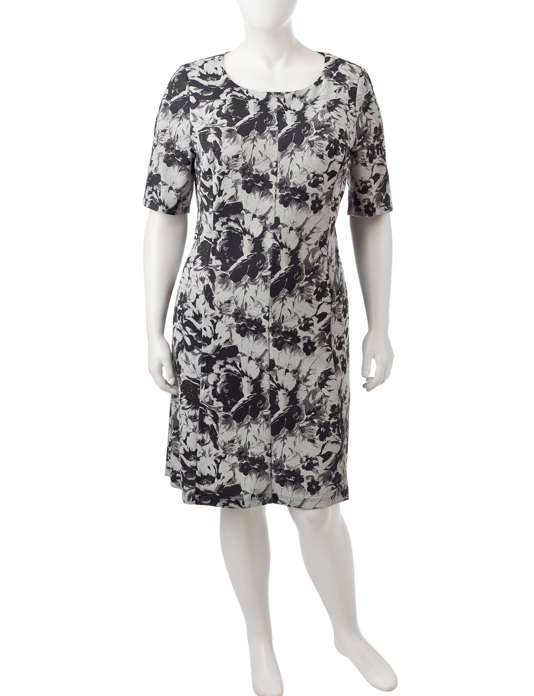 Connected Grey / Black Everyday & Casual Sheath Dresses