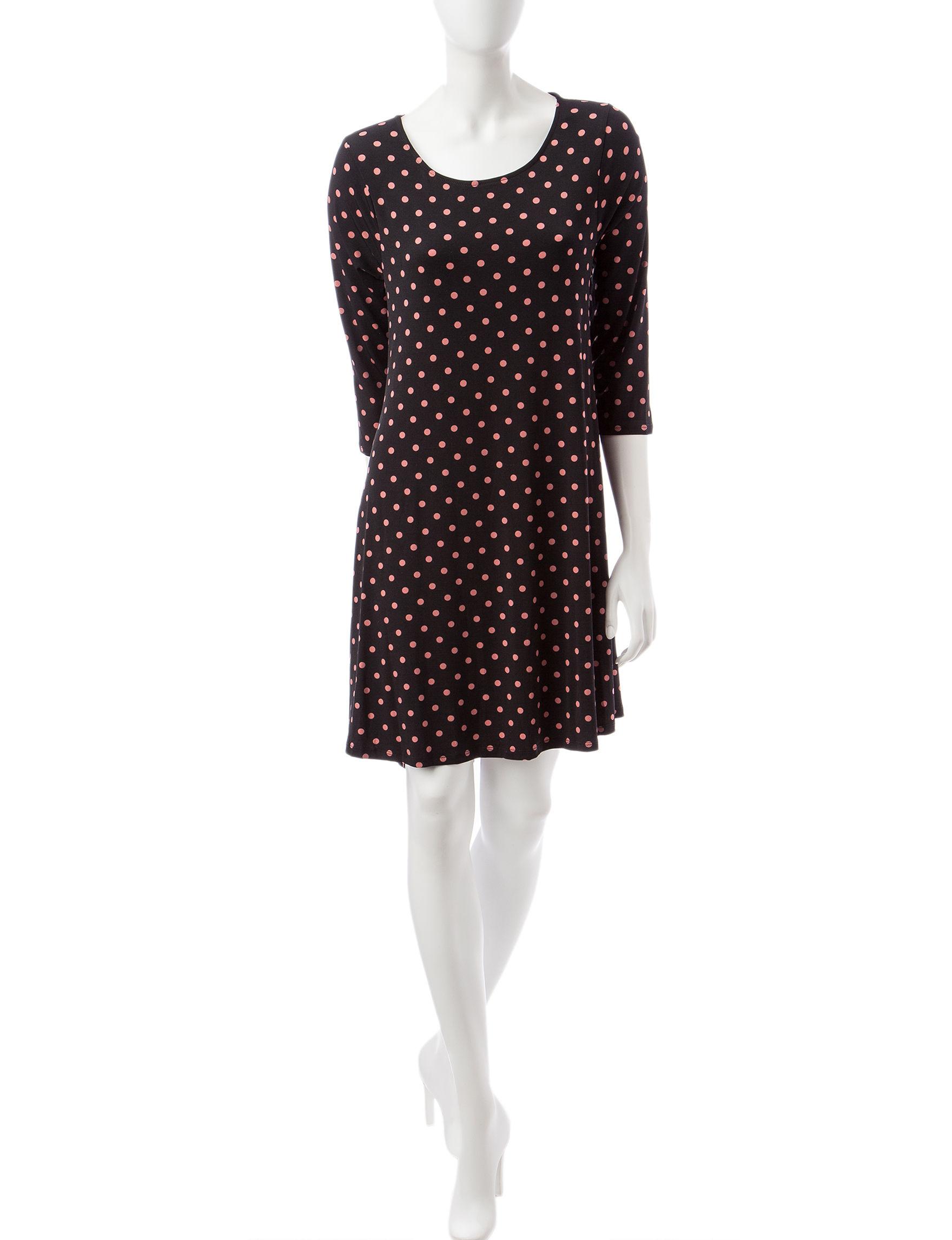 Nina Leonard Black / Pink Everyday & Casual Fit & Flare Dresses