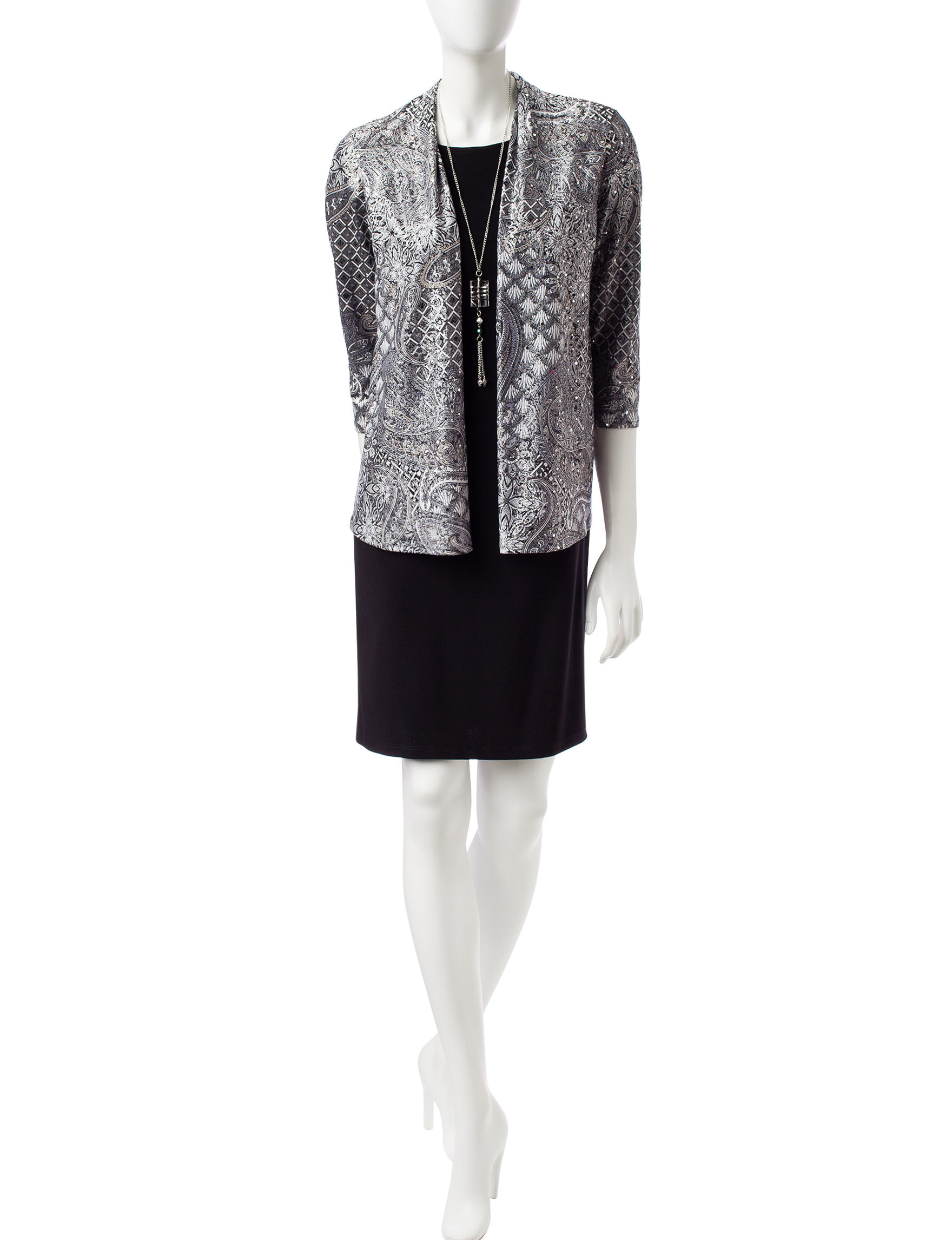 R & M Richards Black / Silver Evening & Formal Everyday & Casual Jacket Dresses