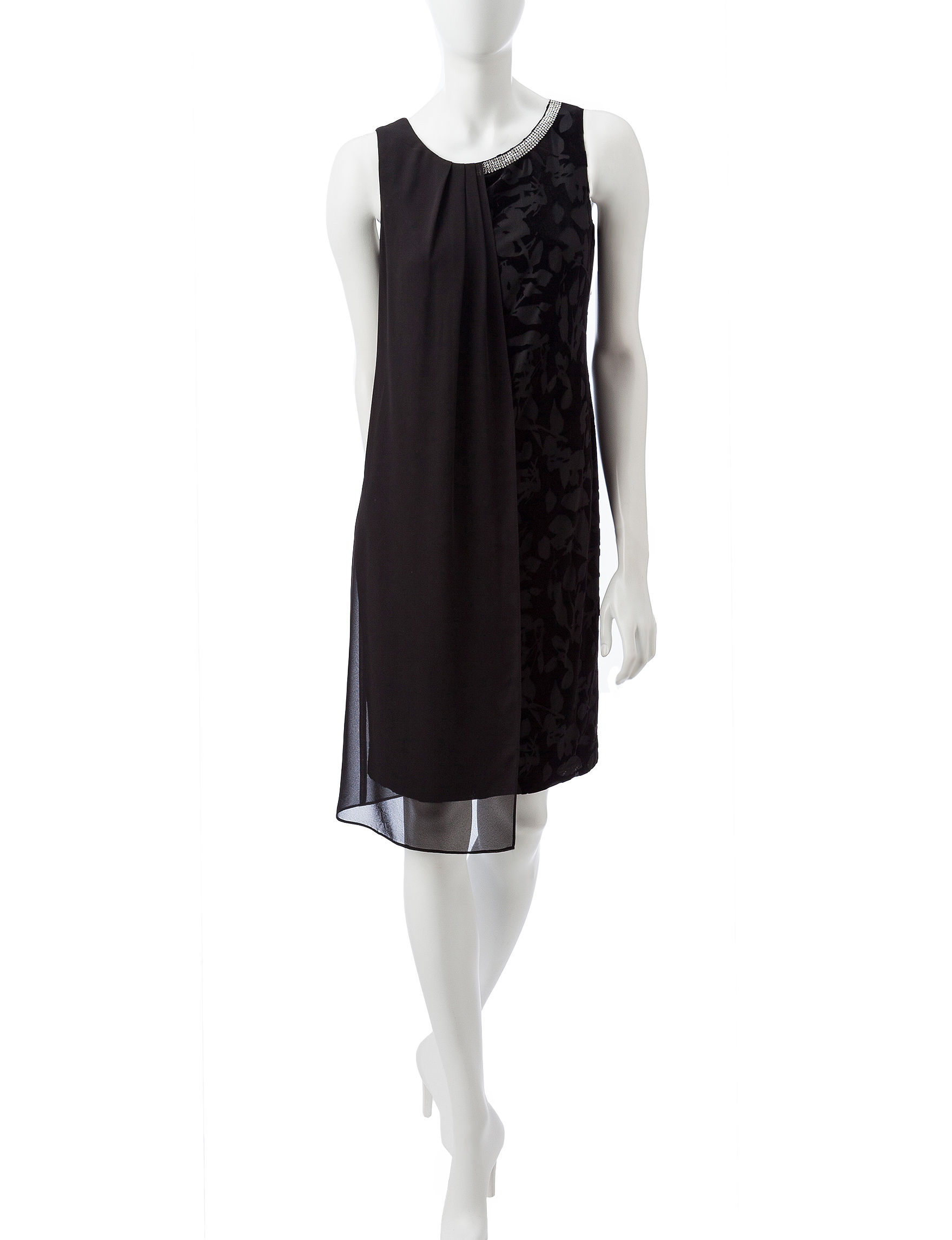 S.L. Fashions Black Cocktail & Party Evening & Formal Shift Dresses