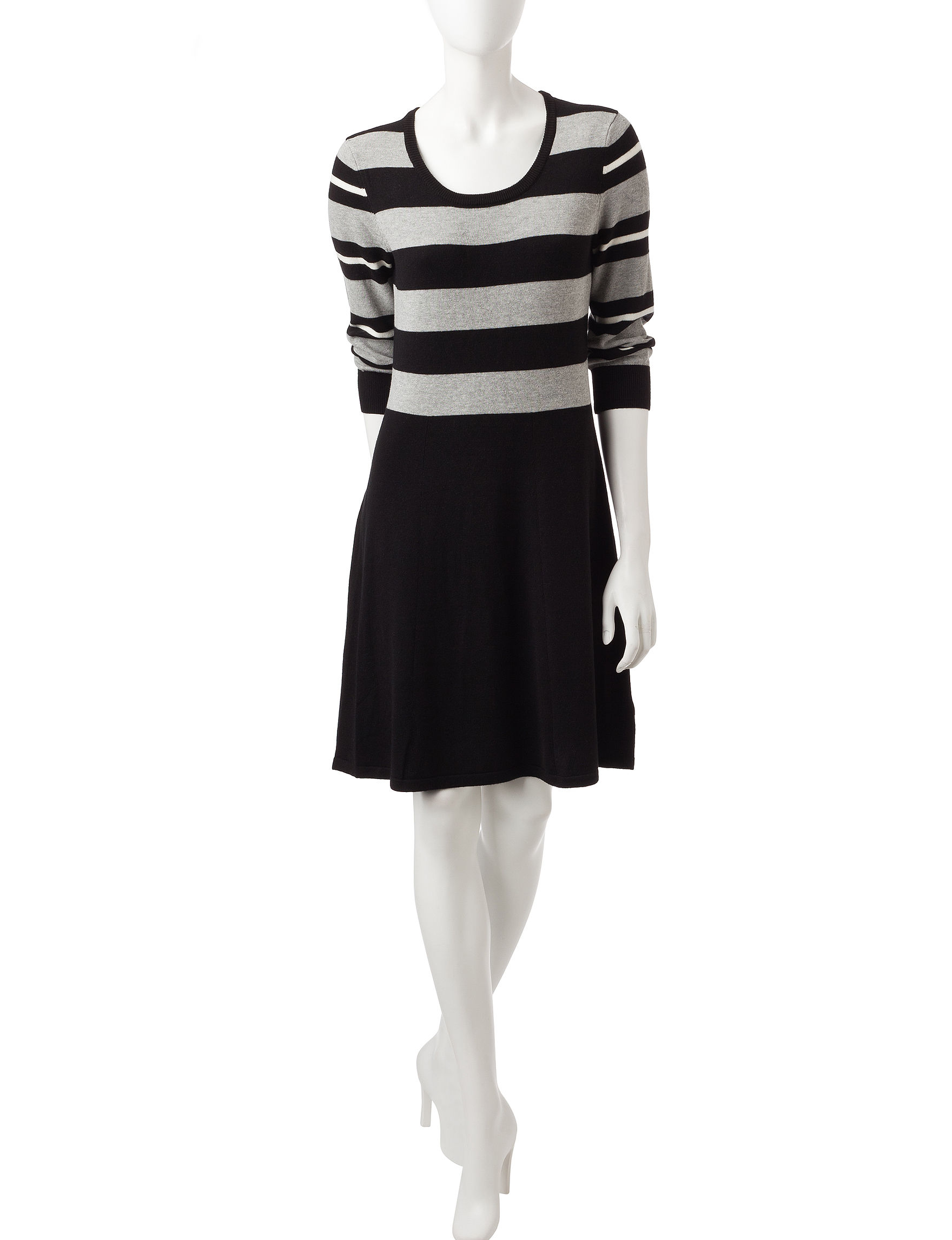 Sandra Darren Black Heather Sweater Dresses