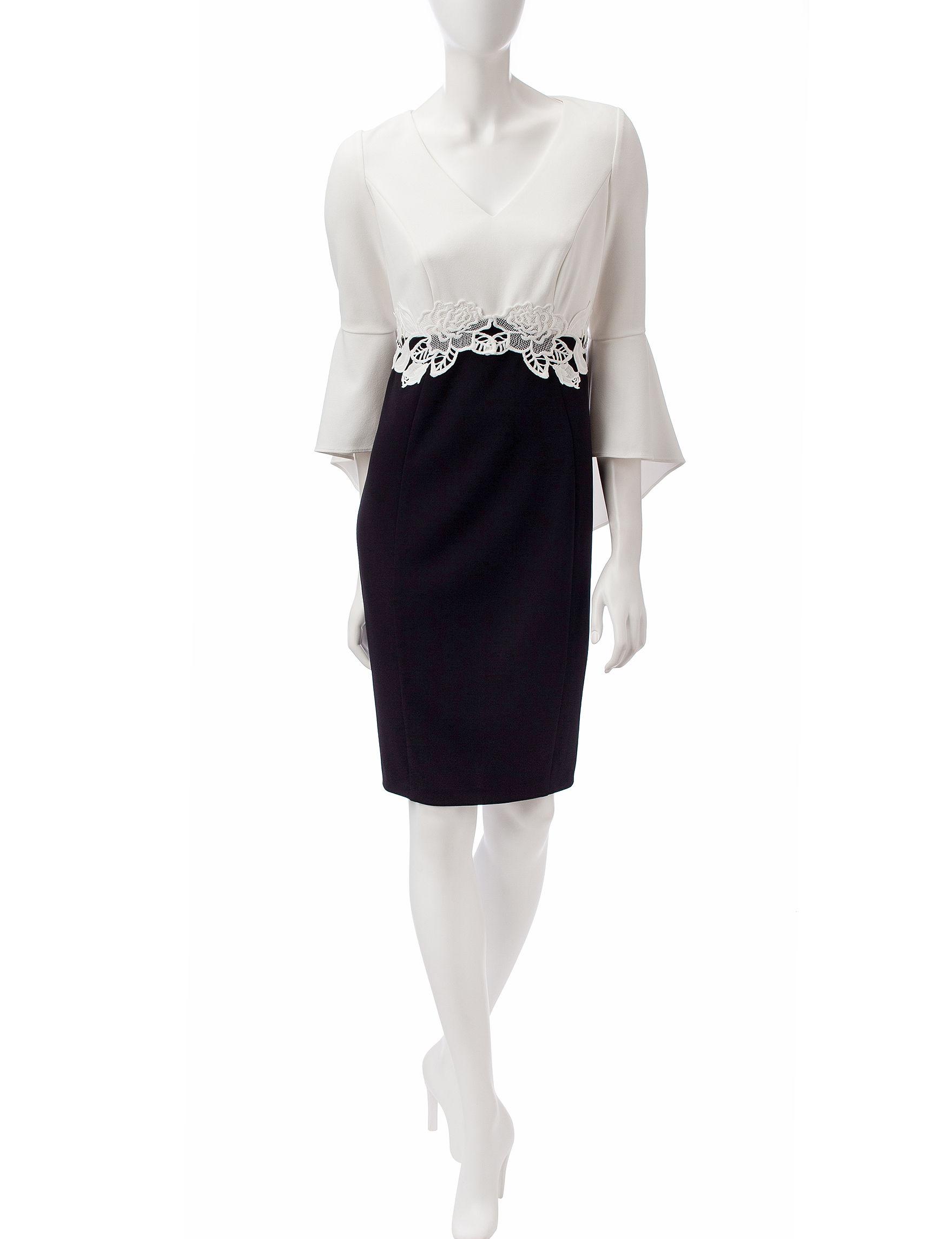 Sangria Black / Ivory Everyday & Casual Sheath Dresses
