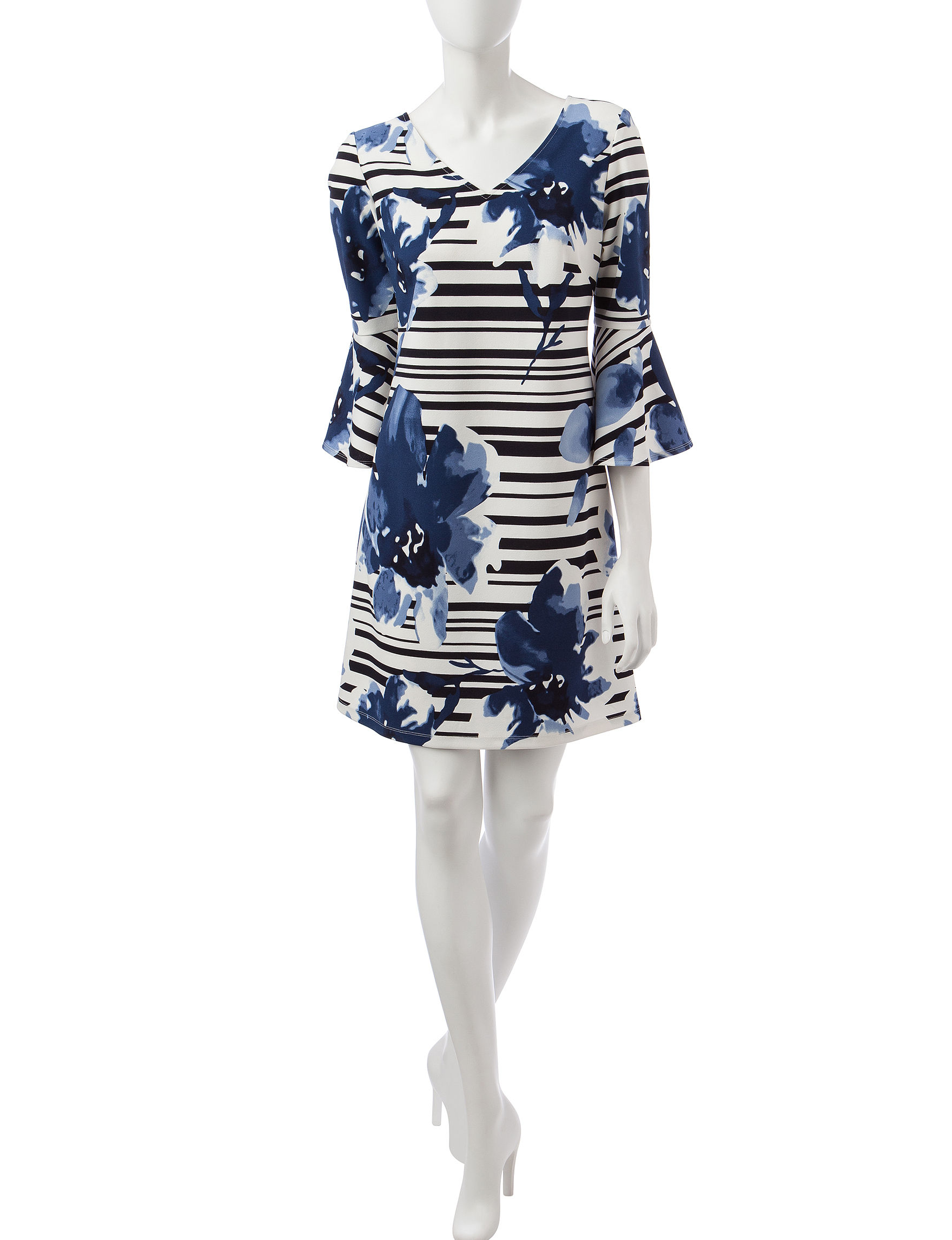 Ronni Nicole Blue / White / Black Everyday & Casual Shift Dresses