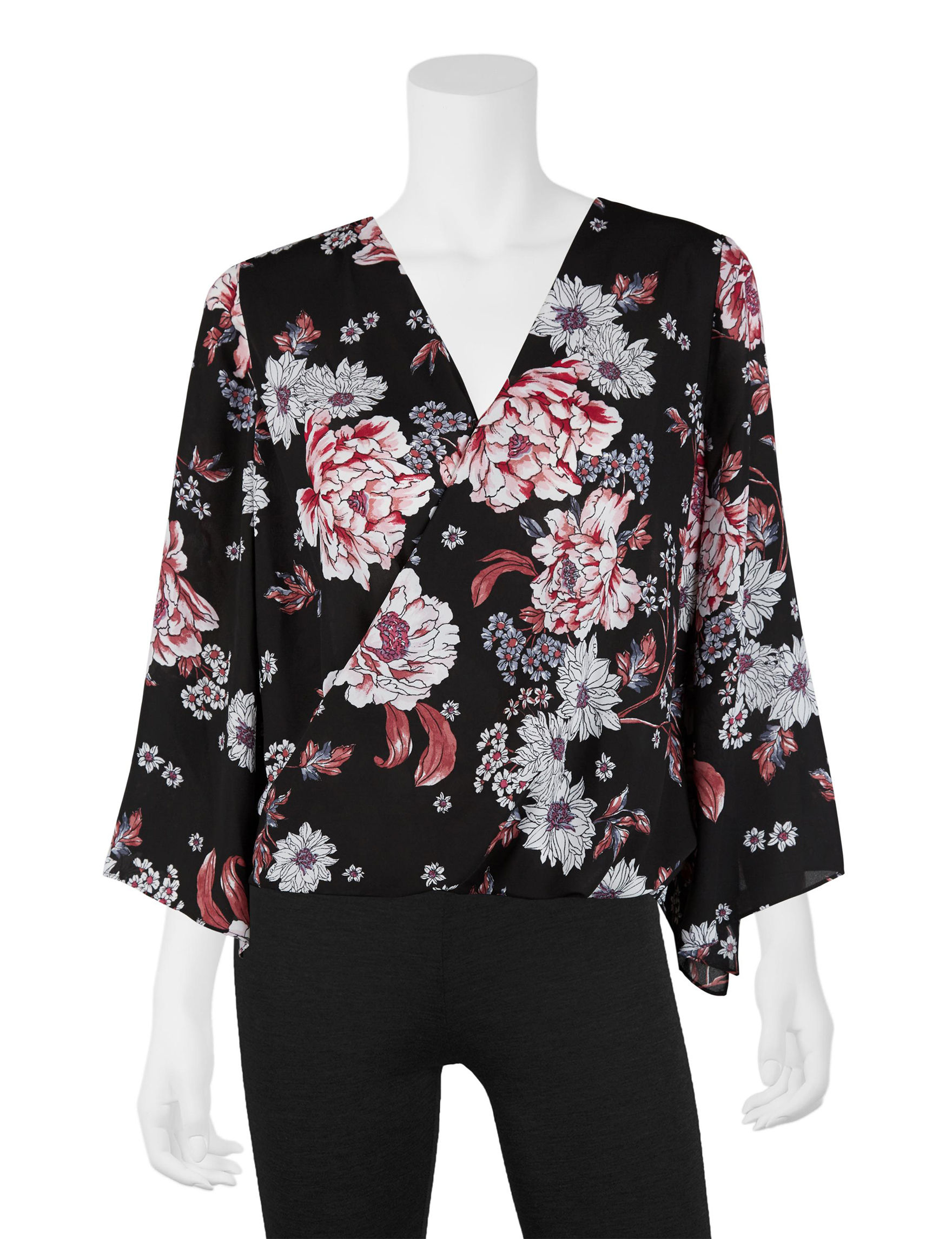 A. Byer Black Floral Shirts & Blouses
