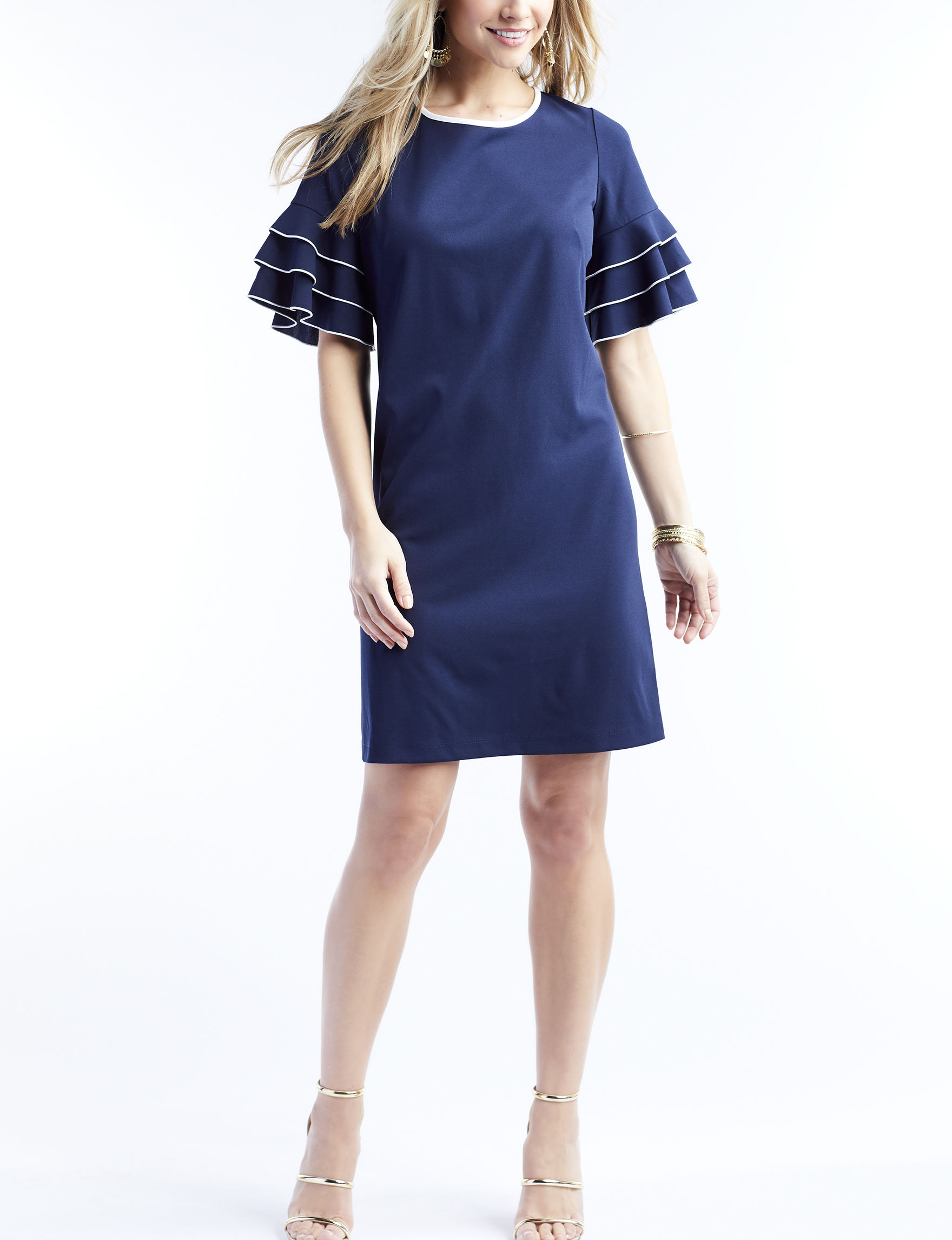 Perceptions Navy / Ivory Everyday & Casual Shift Dresses