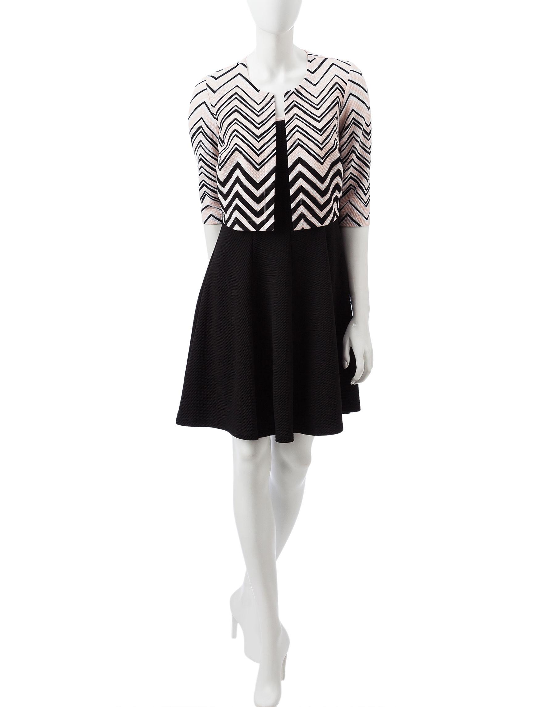 Robbie Bee Pink / Black Everyday & Casual Jacket Dresses