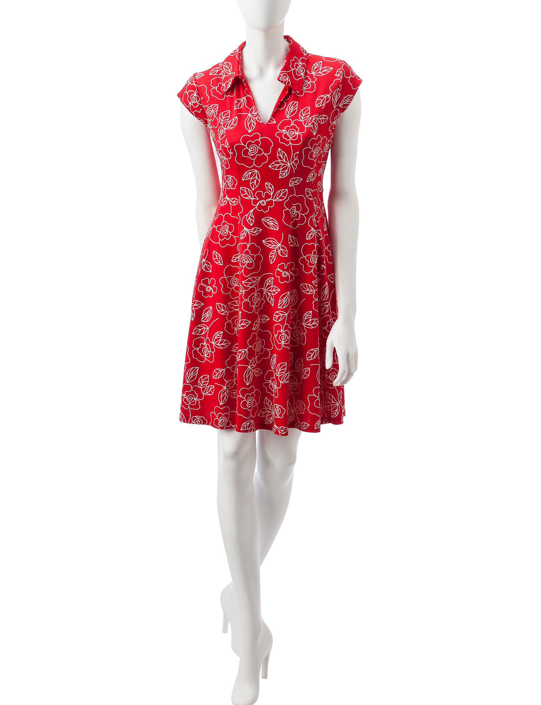 Robbie Bee Red / White Everyday & Casual A-line Dresses Fit & Flare Dresses