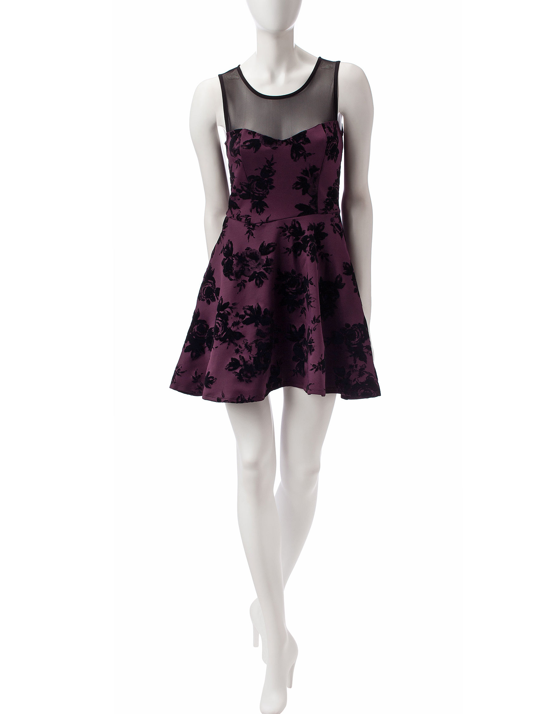 Trixxi Deep Purple Cocktail & Party Fit & Flare Dresses