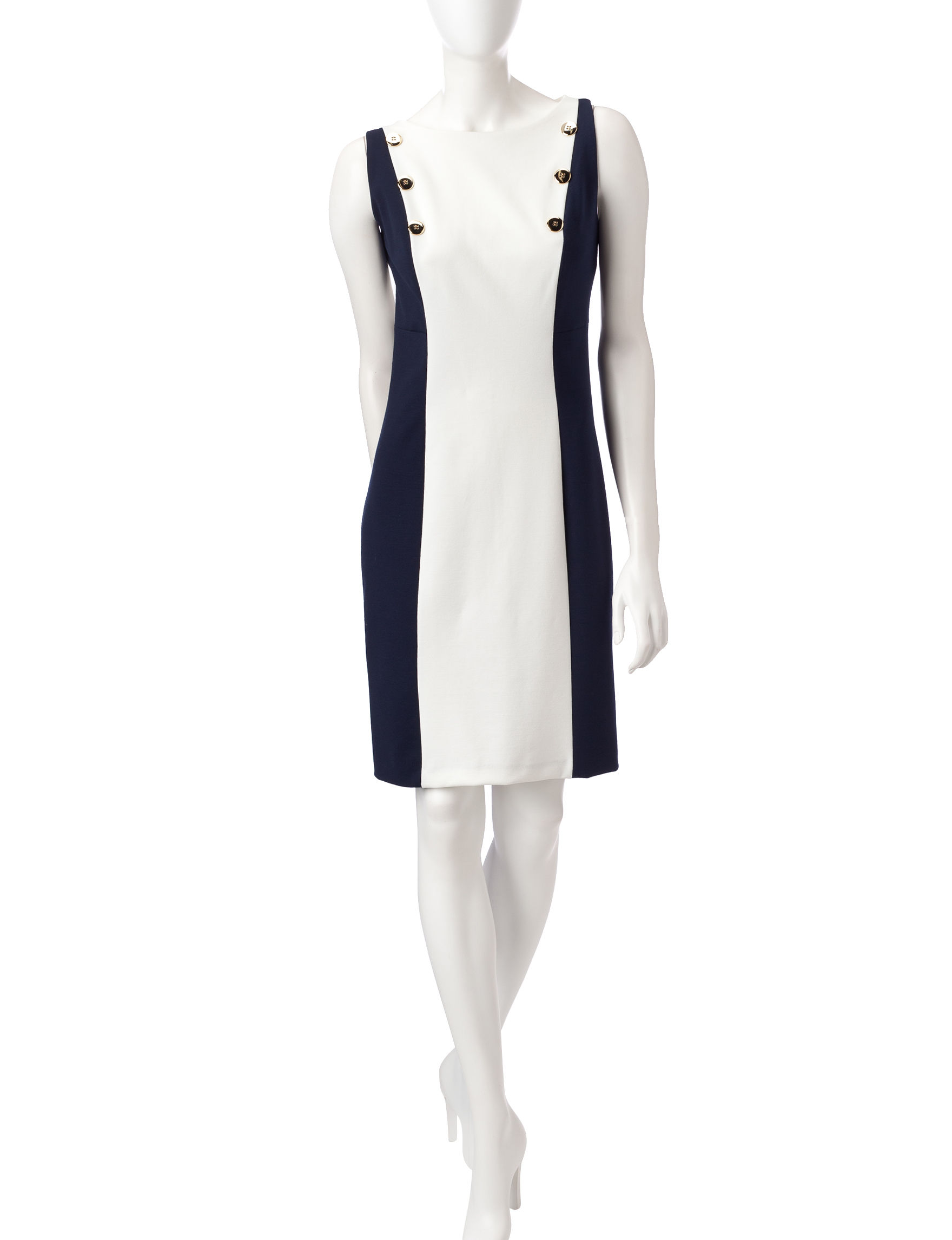 Sharagano Ivory/Blue Everyday & Casual A-line Dresses Fit & Flare Dresses