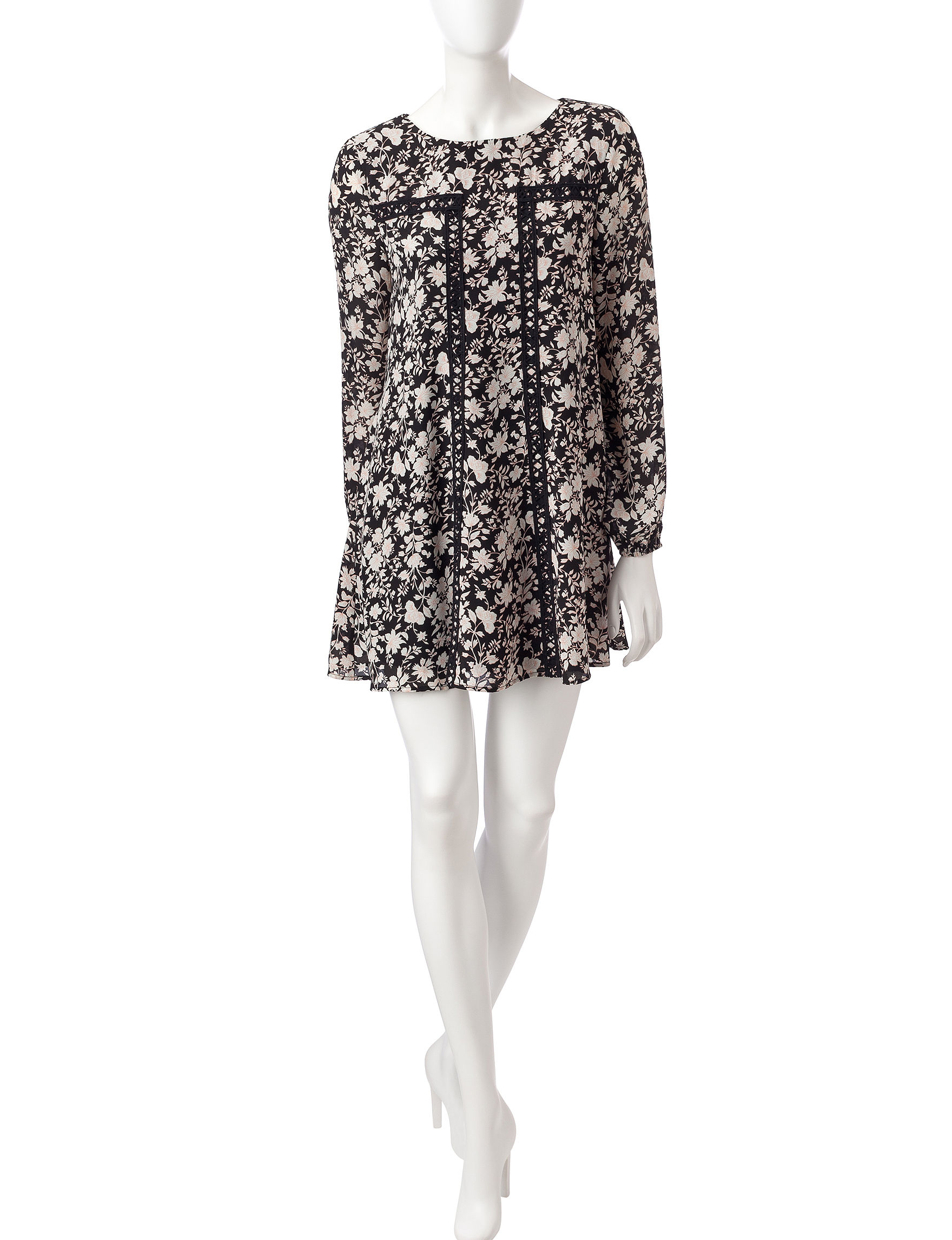 Trixxi Black Floral Everyday & Casual Shift Dresses